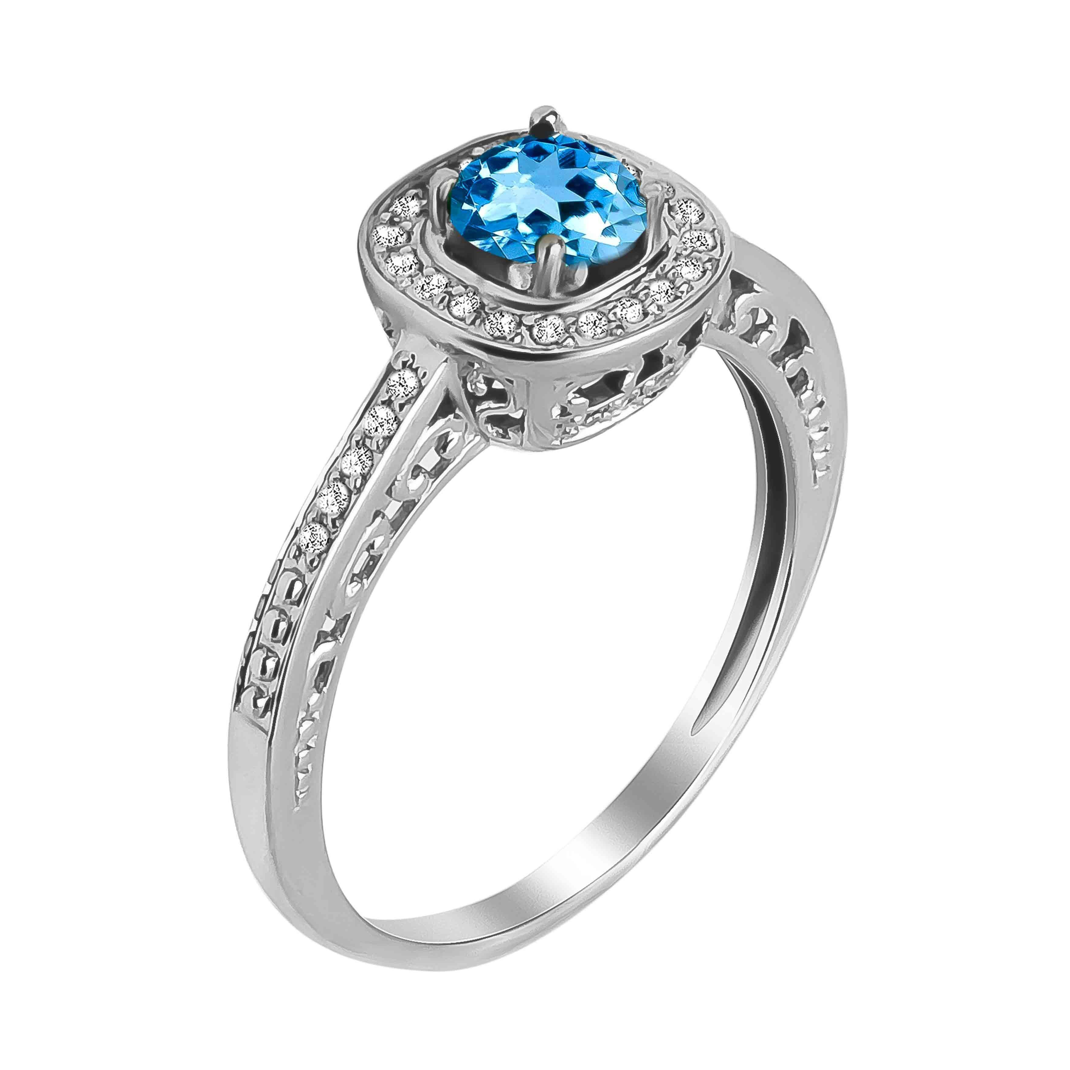 Aquamarine and Diamond Open Gallery Ring