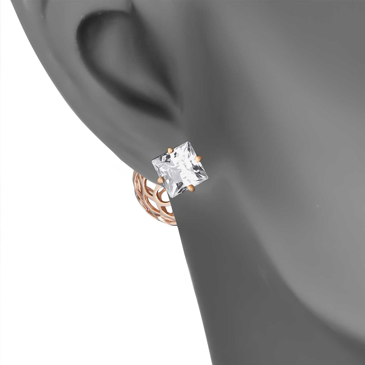 CZ Two-way Stud Earrings. View 3