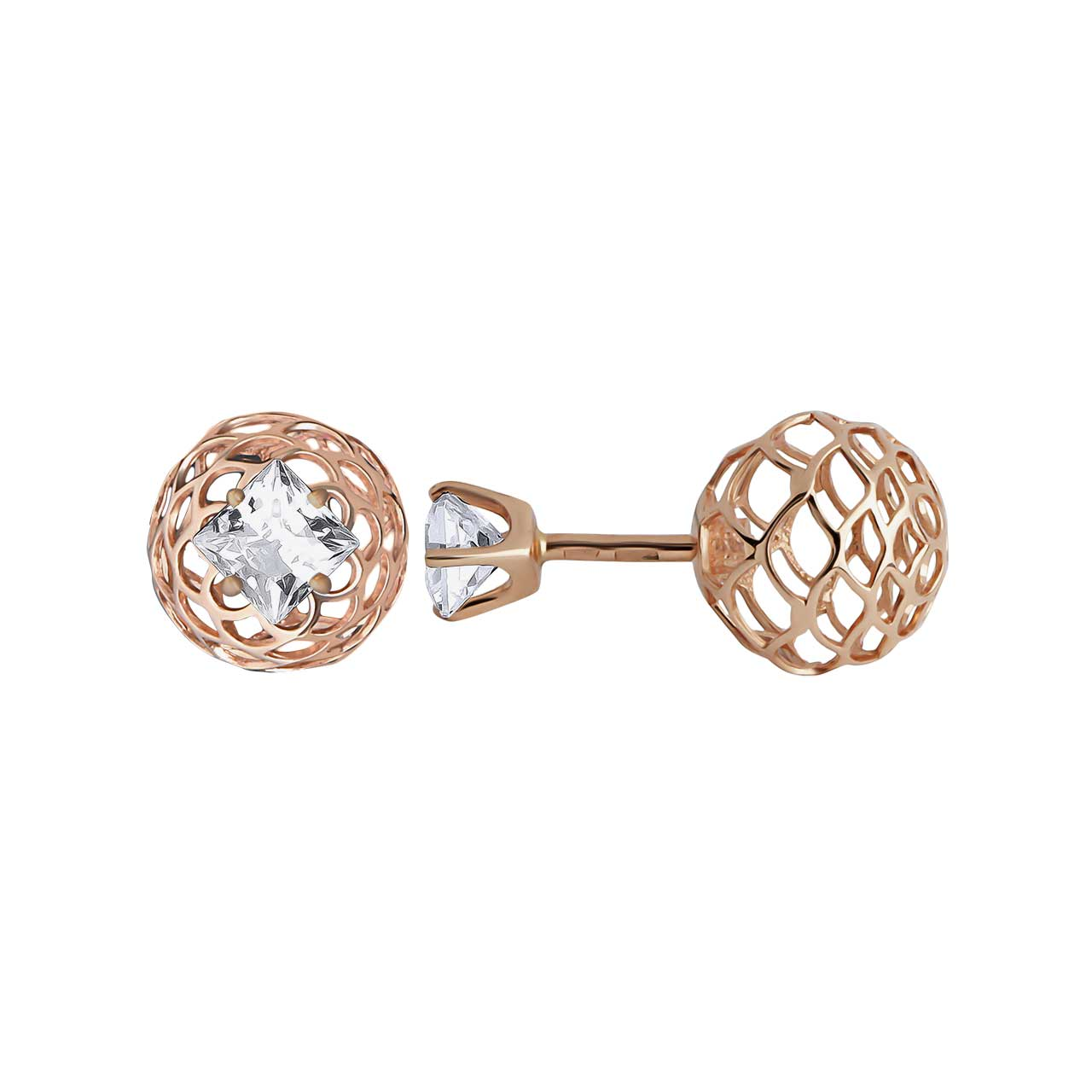 CZ Two-way Stud Earrings