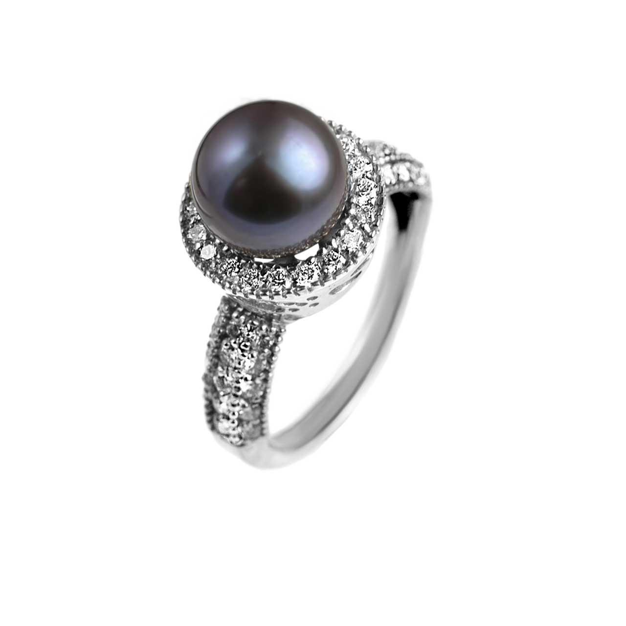 Black pearl diamond ring 1