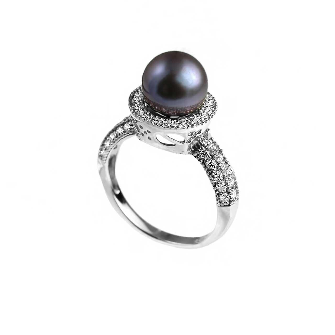 Black pearl diamond ring 2
