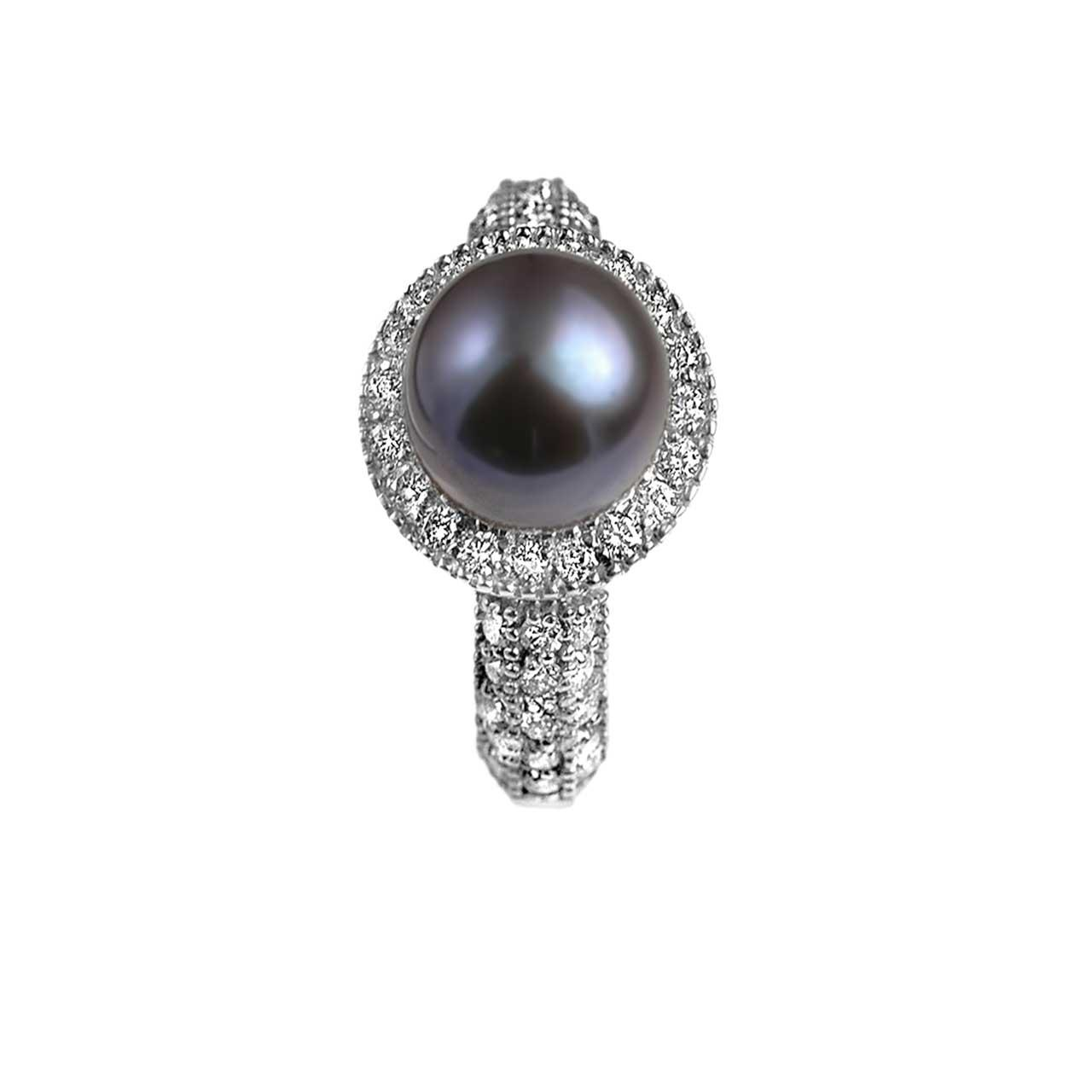 Black pearl diamond ring 3