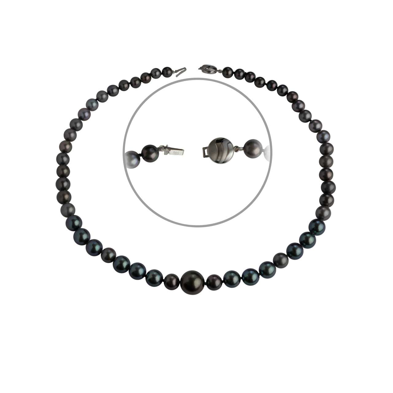 Graduated Black Pearl Necklace