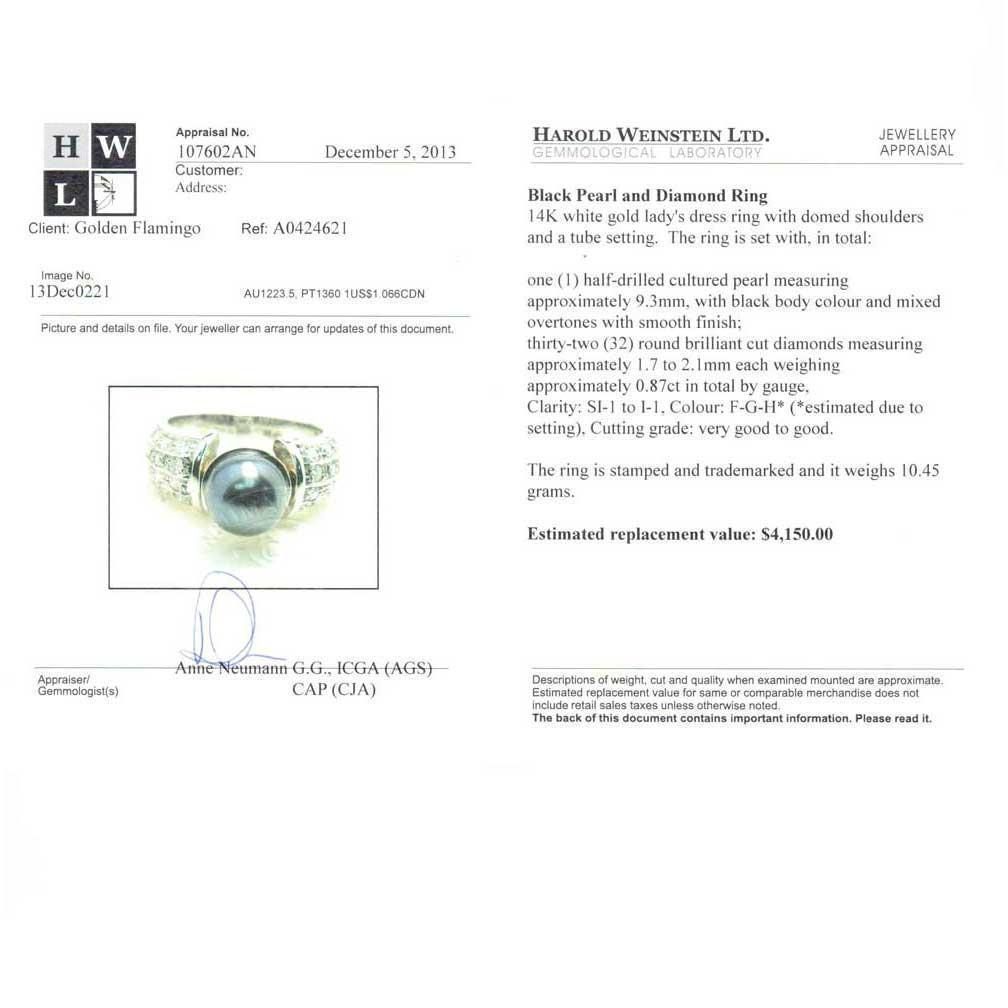 Appraisal of Tahitian Black Pearl and Diamond 14kt White Gold Ring