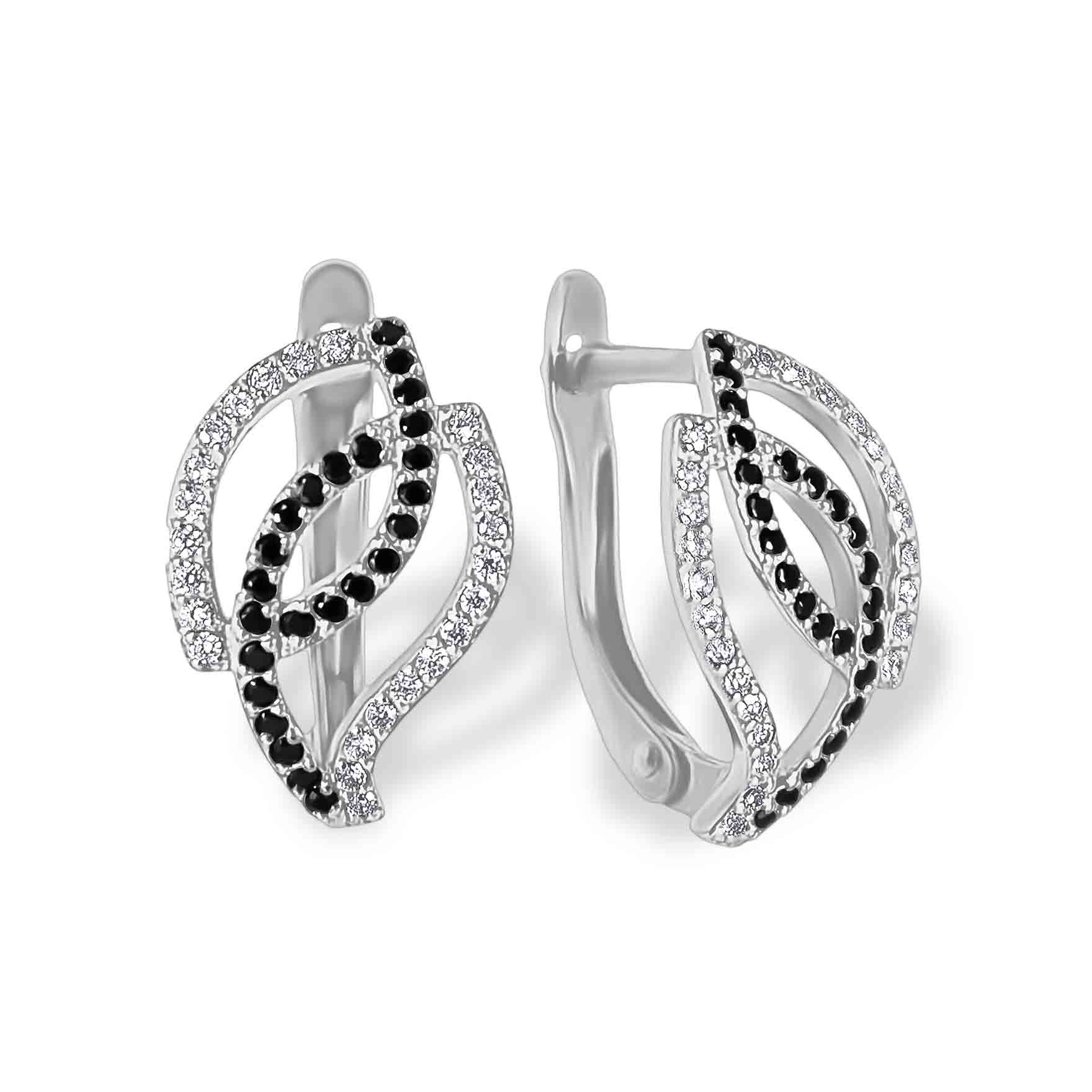 Cz White Gold Leverback Earrings