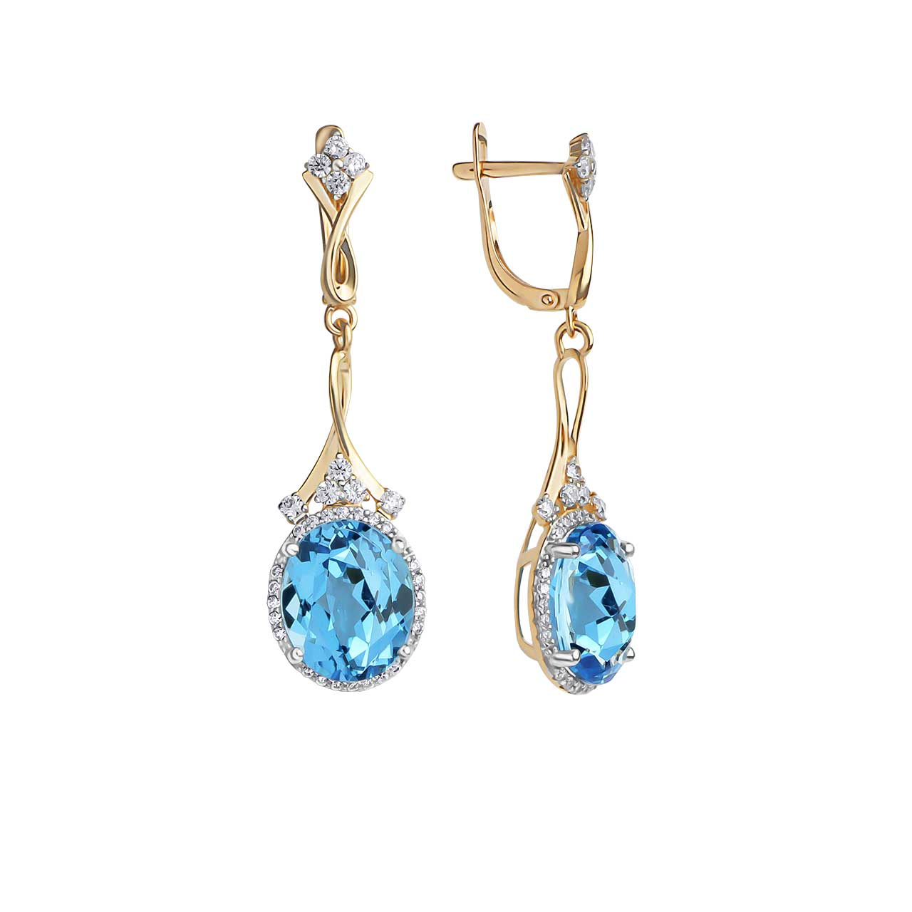 Blue Topaz with CZ Accents Dangle Earrings