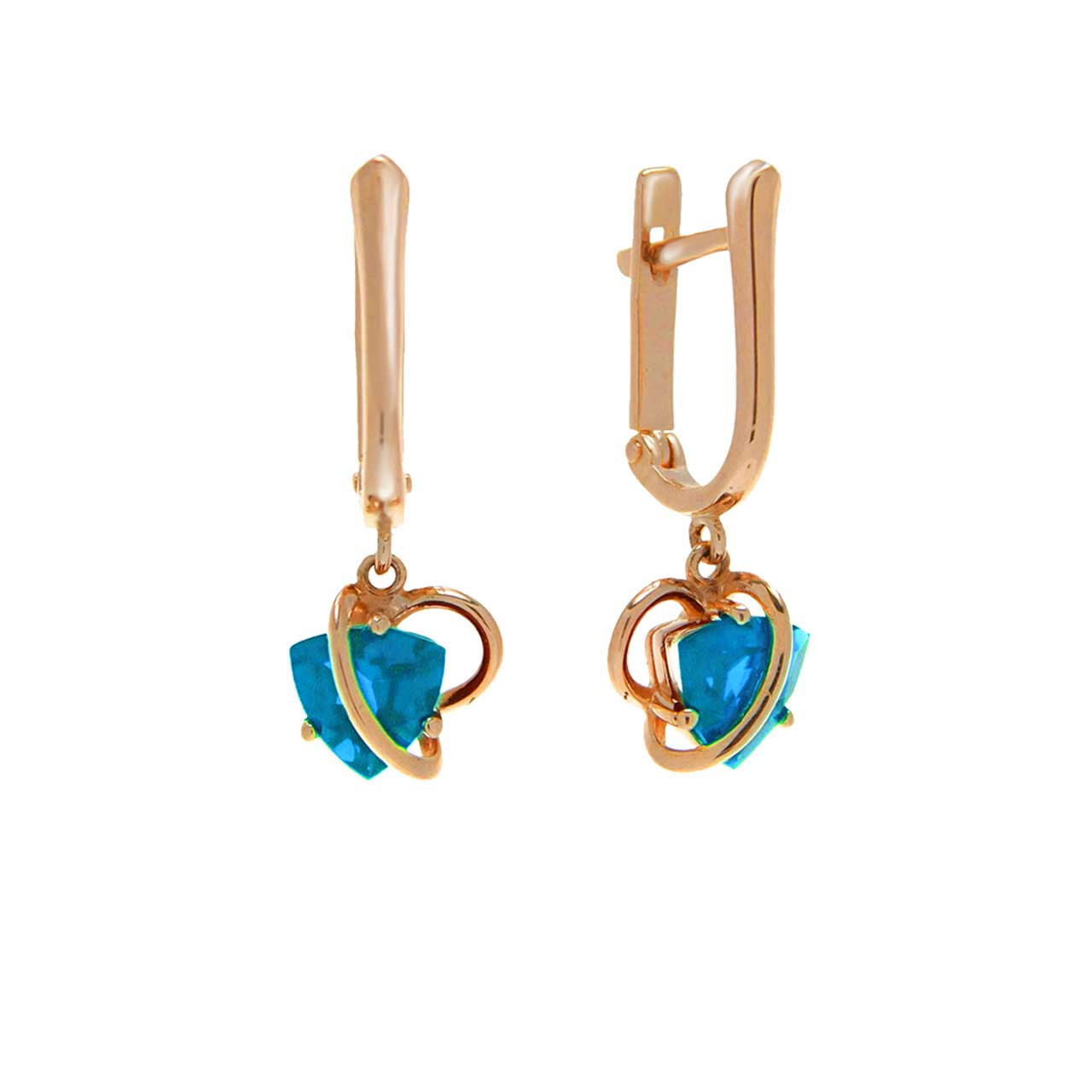 Swiss blue topaz gold earrings 1