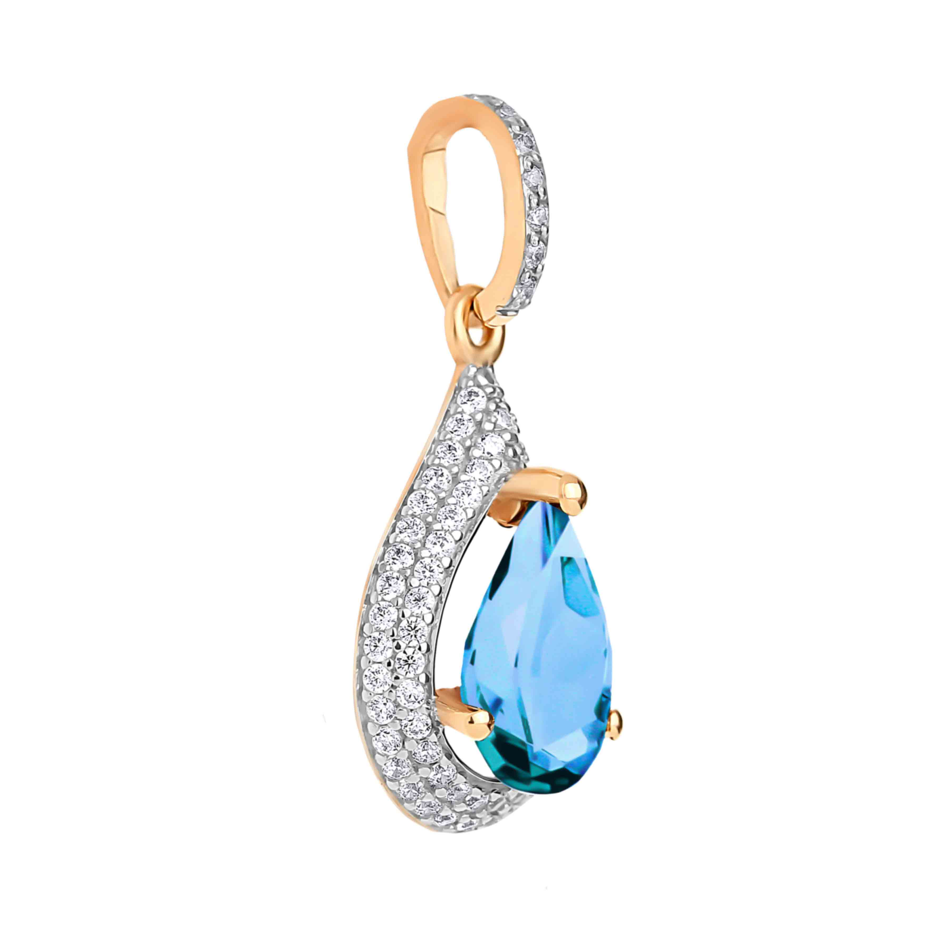 Blue topaz and CZ teardrop pendant in 585 rose gold. View 2