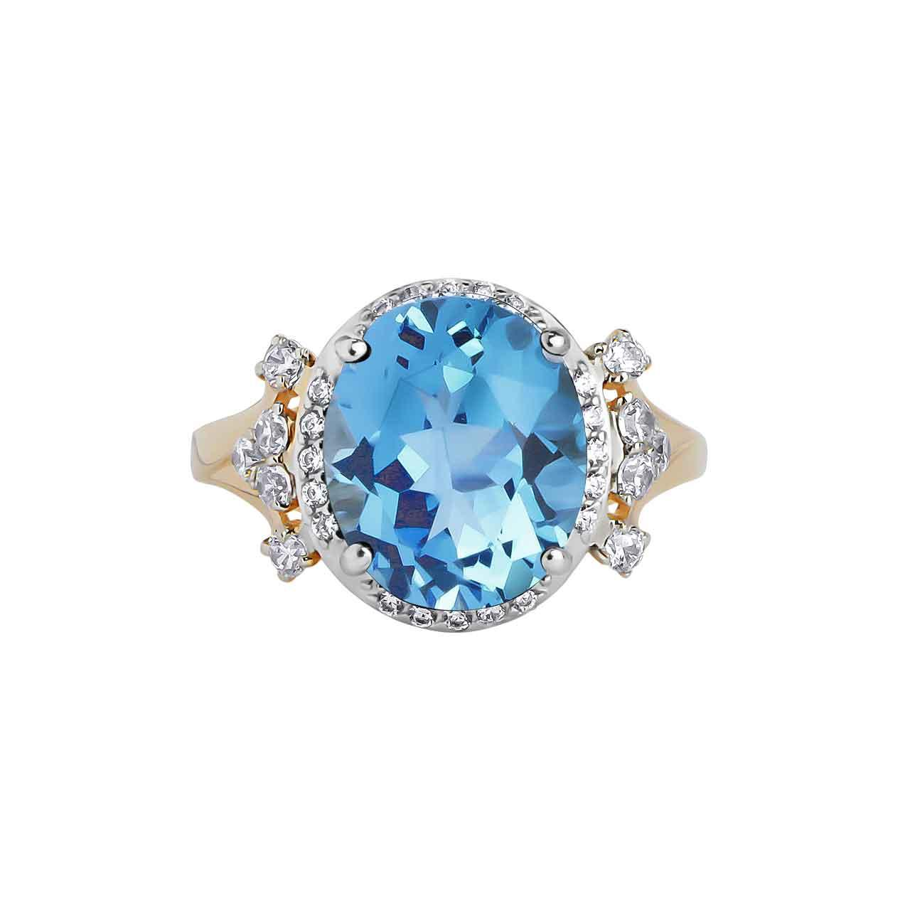 Blue topaz gold ring 2
