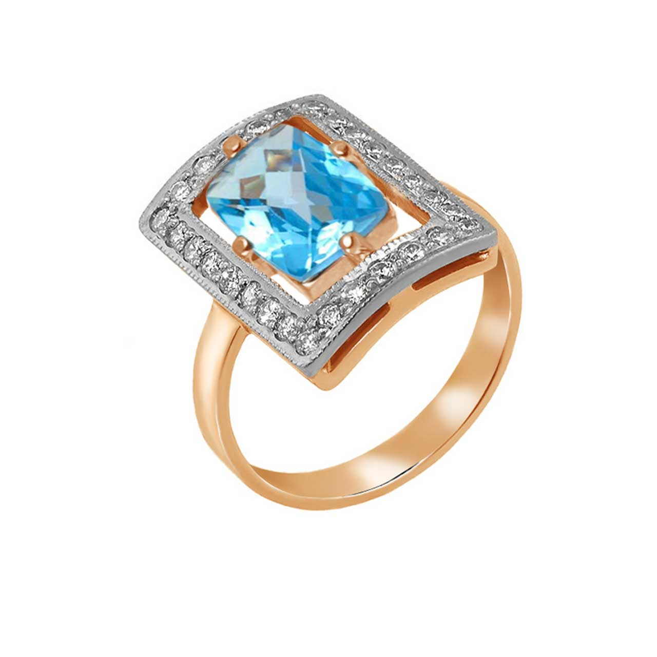 Blue topaz Russian ring 2