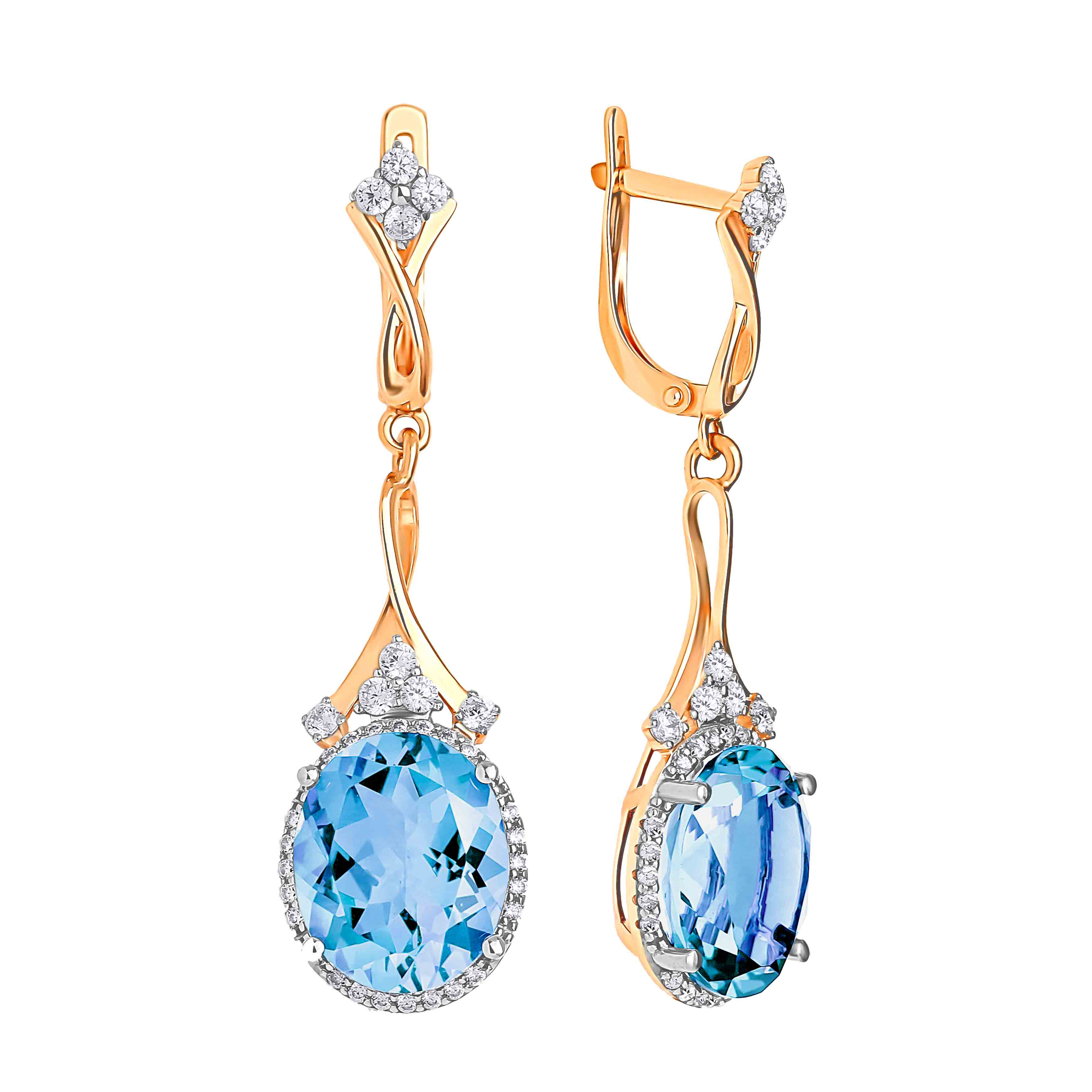 Oval-Shaped Blue Topaz Cocktail Earrings