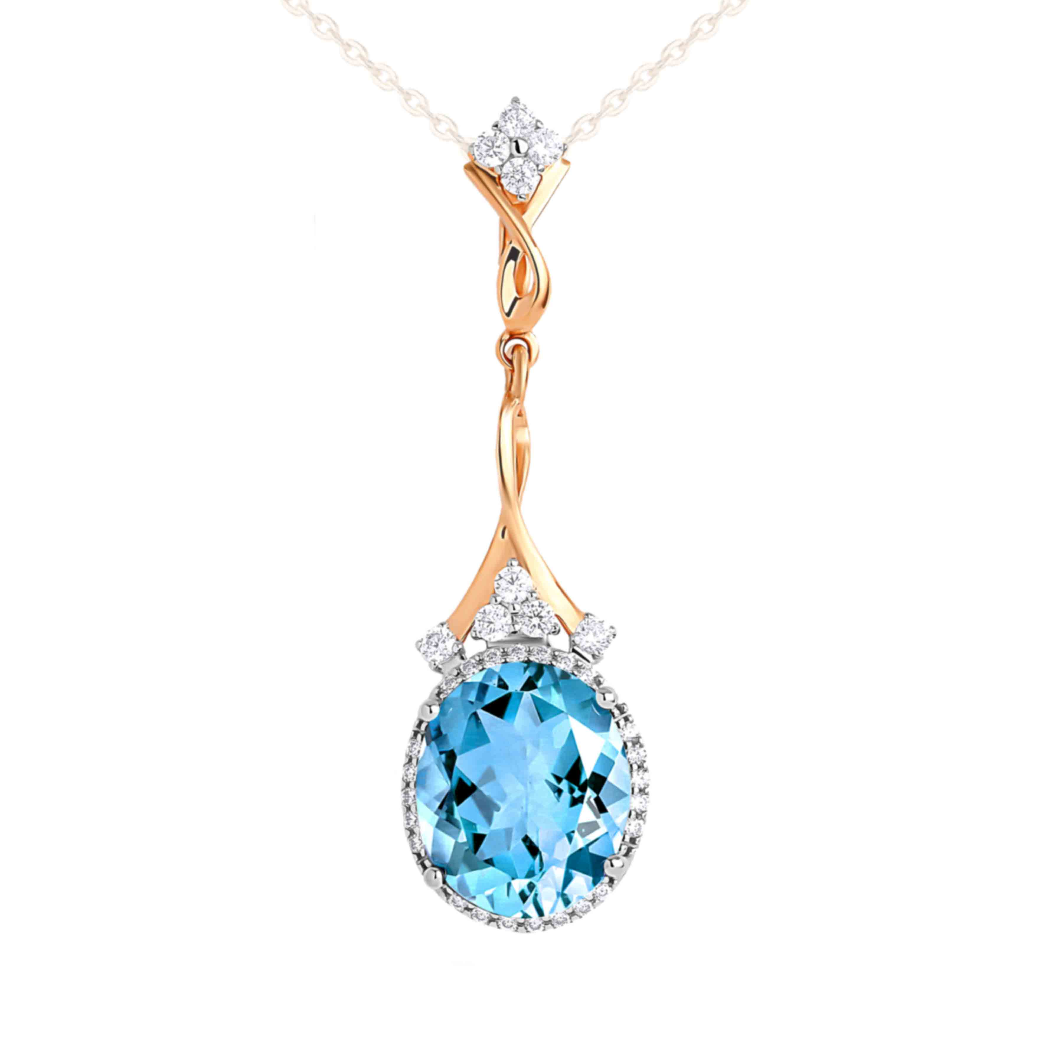 Oval-Shaped Blue Topaz Cocktail Pendant