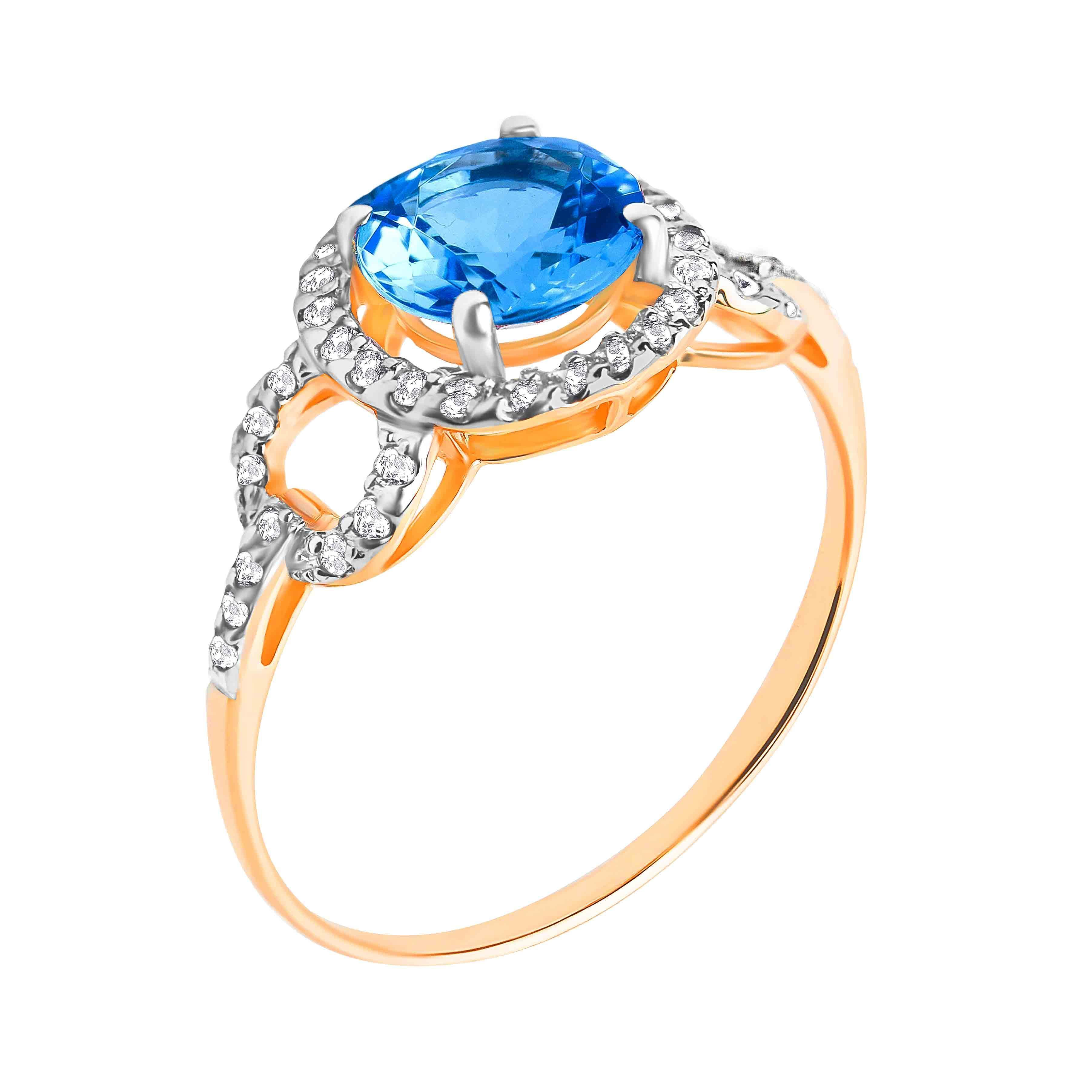 Round Genuine Blue Topaz and CZ Ring
