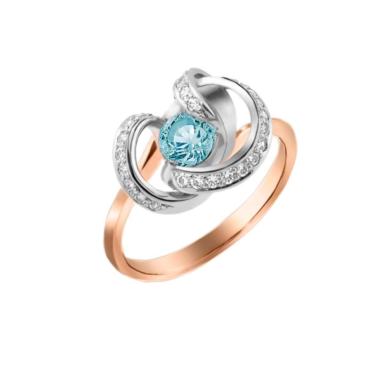 Blue Topaz and CZ Twisted Ring