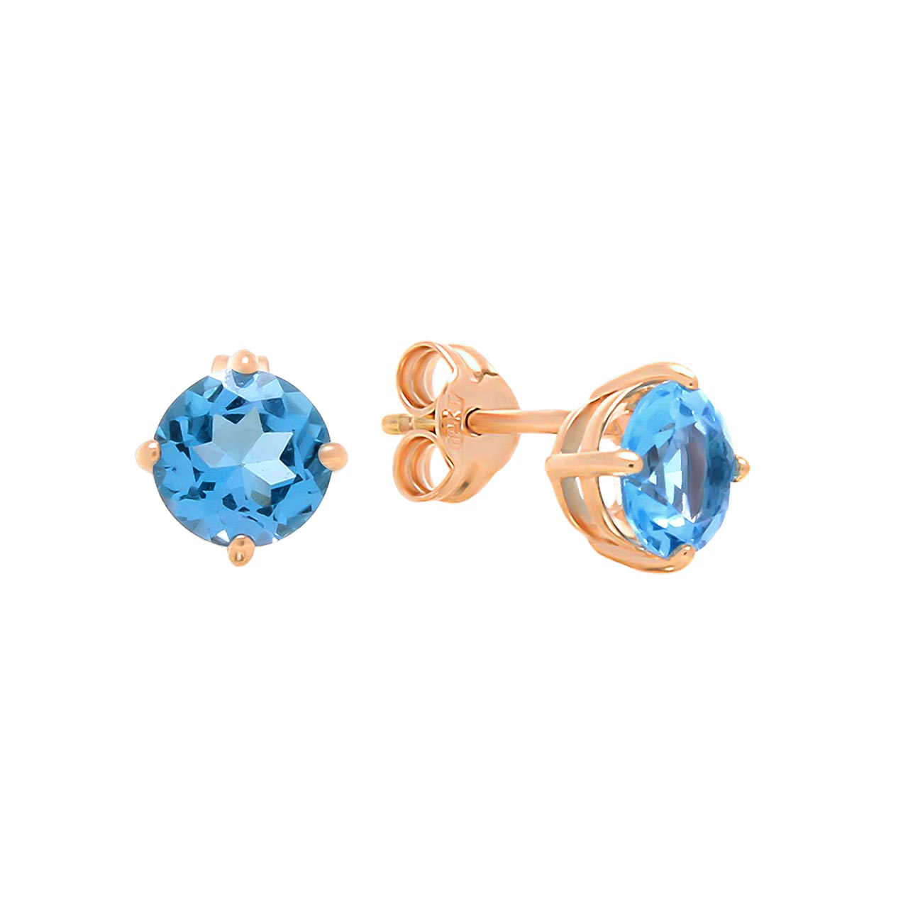 Blue Topaz Double Gallery Stud Earrings