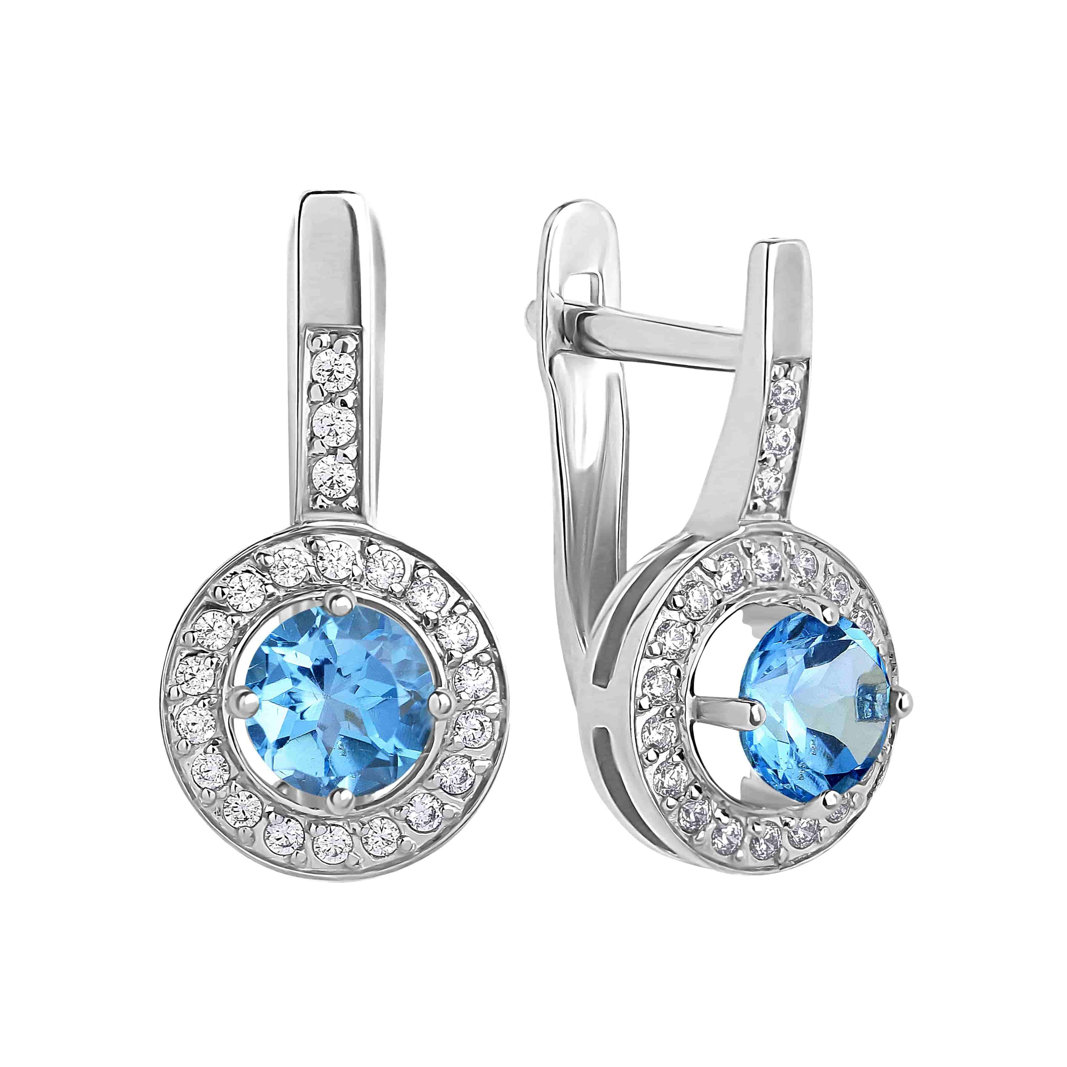 Blue Topaz with CZ Halo Leverback Earrings