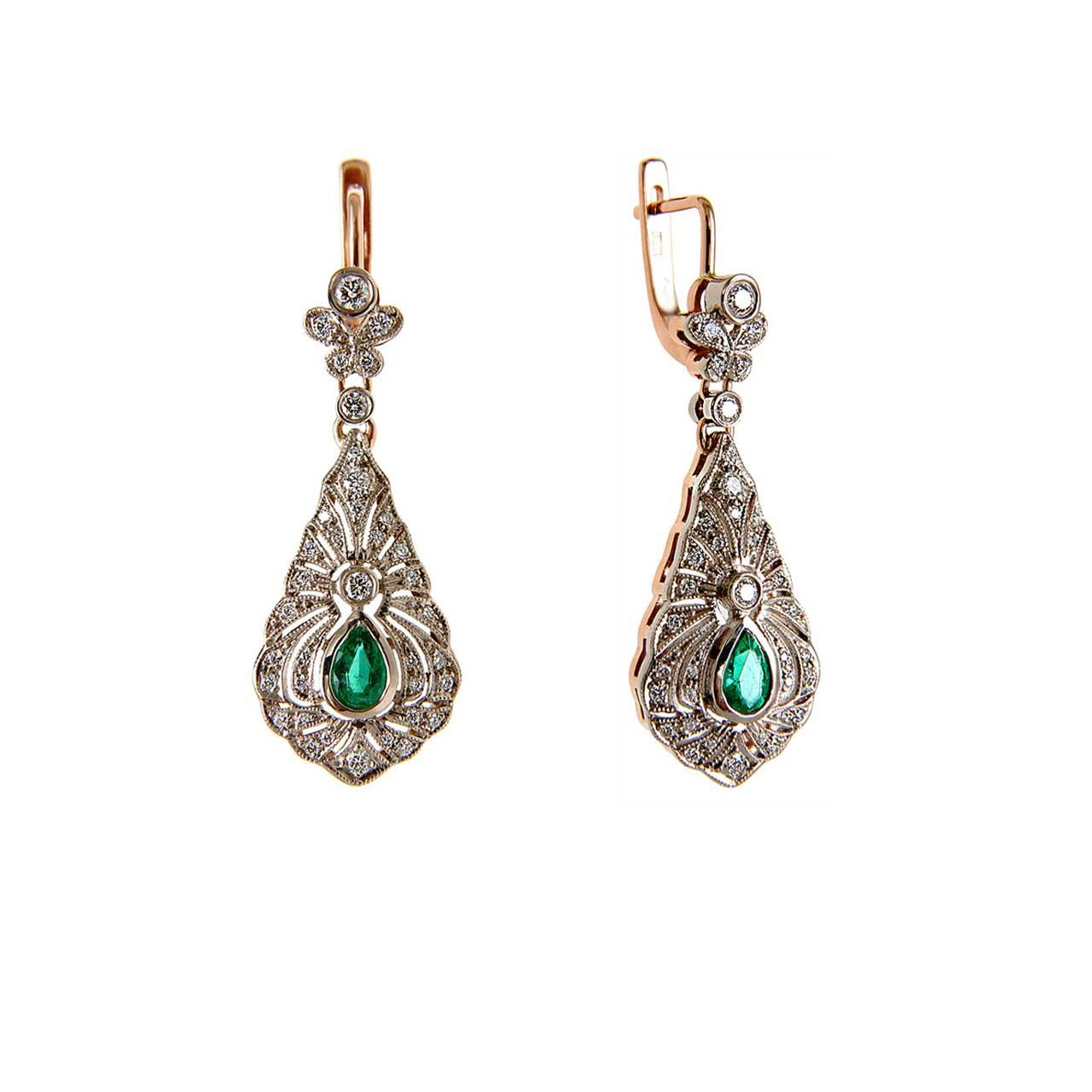 Certified Emerald and Diamond Earrings