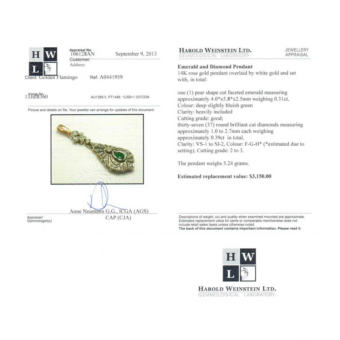 Certified Emerald pendant from Russia 2