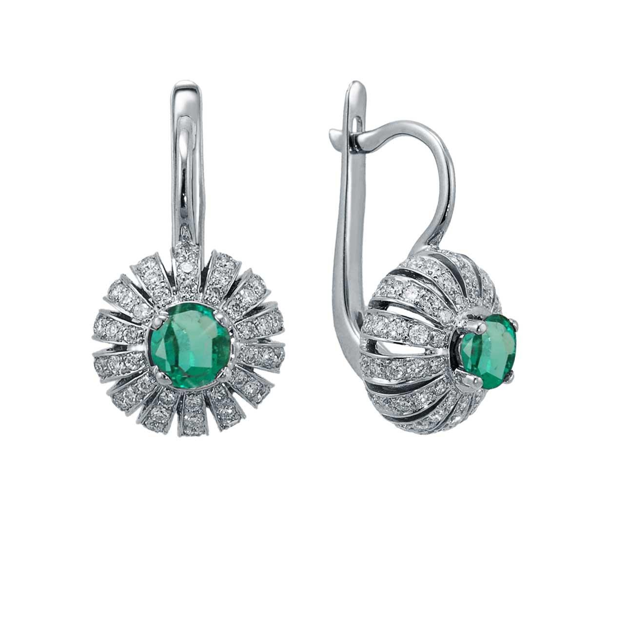 Eastern Motif Emerald and Diamond Earrings