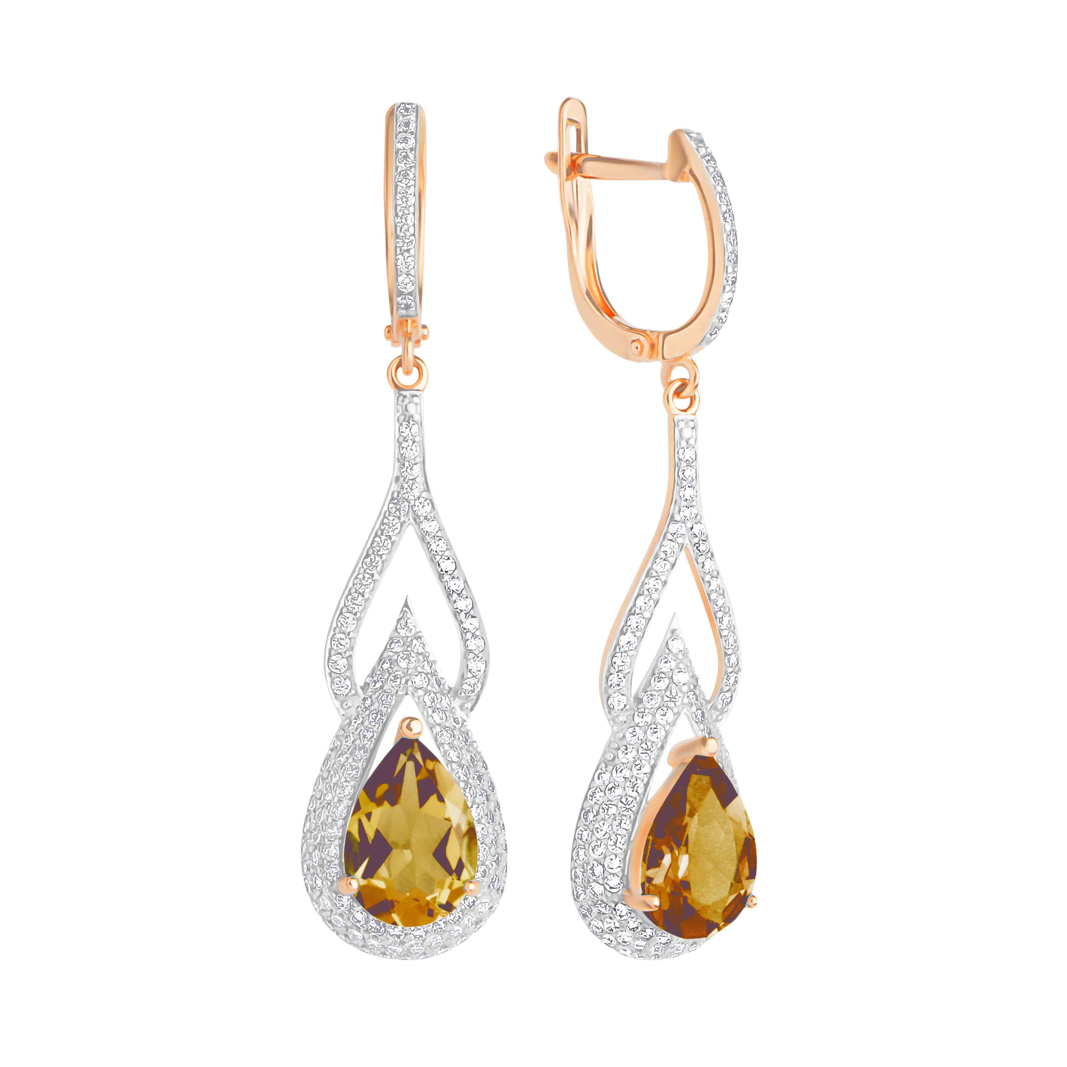 Teardrop Citrine and CZ Earrings