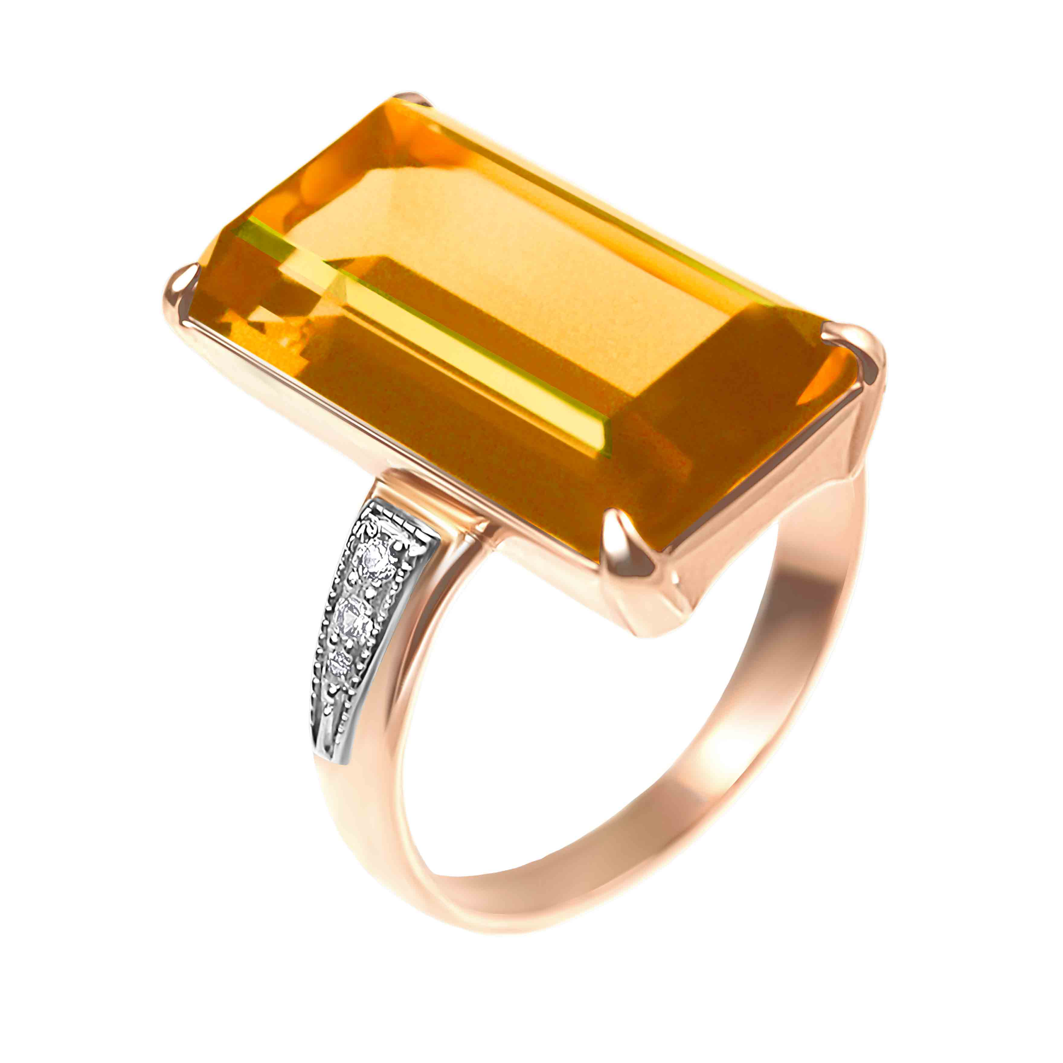 Goodly Citrine and CZ Ring