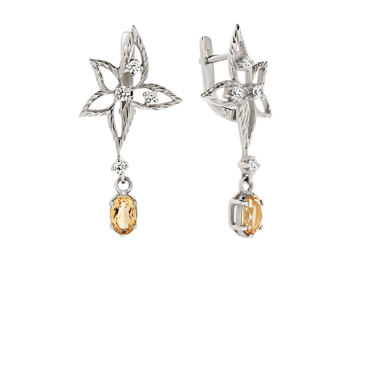 Citrine white gold earrings 1
