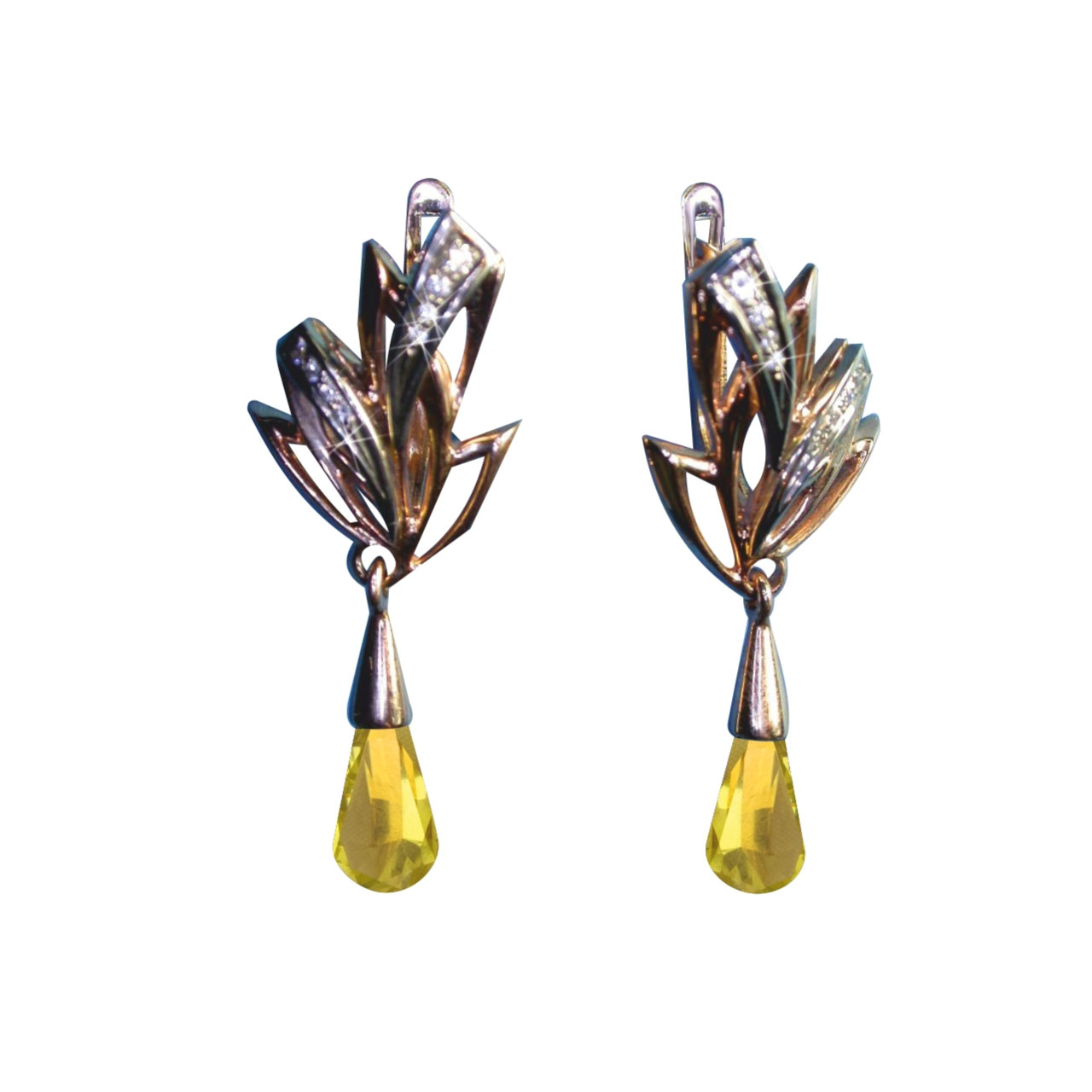 Citrine & CZ Teardrop Earrings