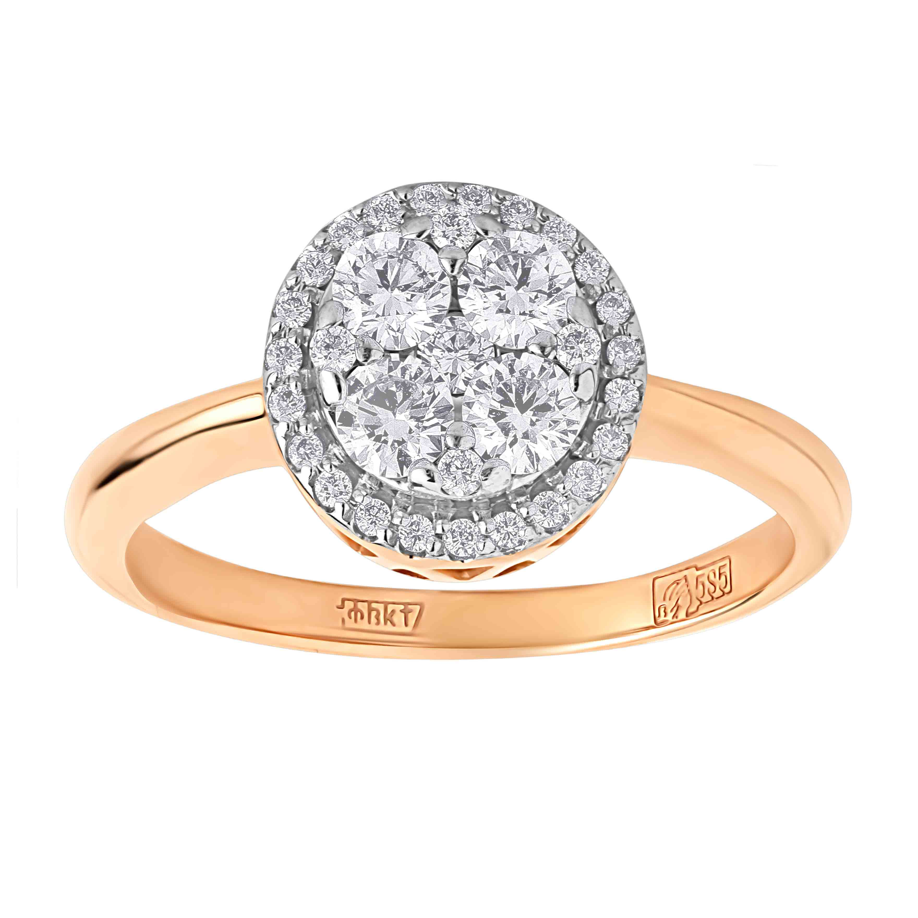 Circular Diamond Cluster in Diamond Halo Rose Gold Ring. View 2