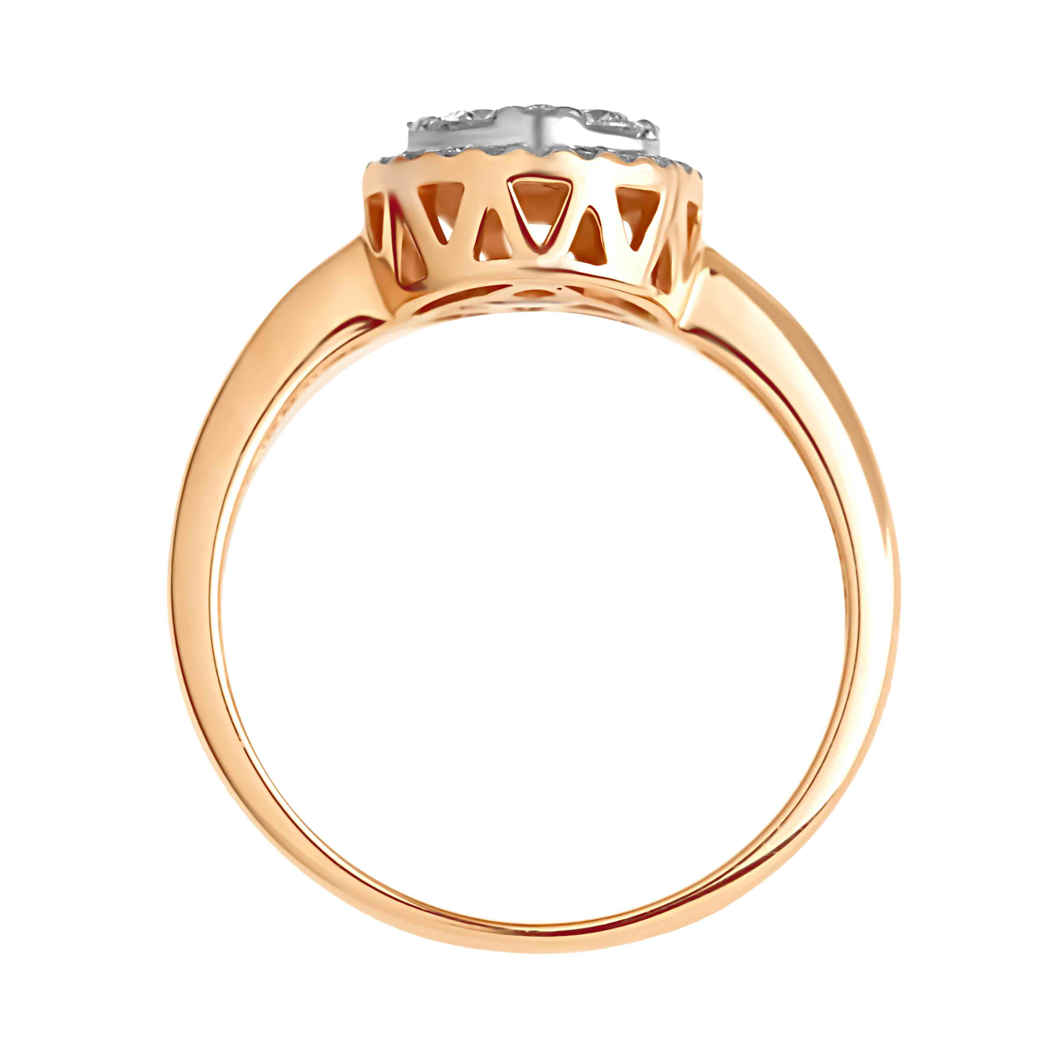 Circular Diamond Cluster in Diamond Halo Rose Gold Ring. View 3