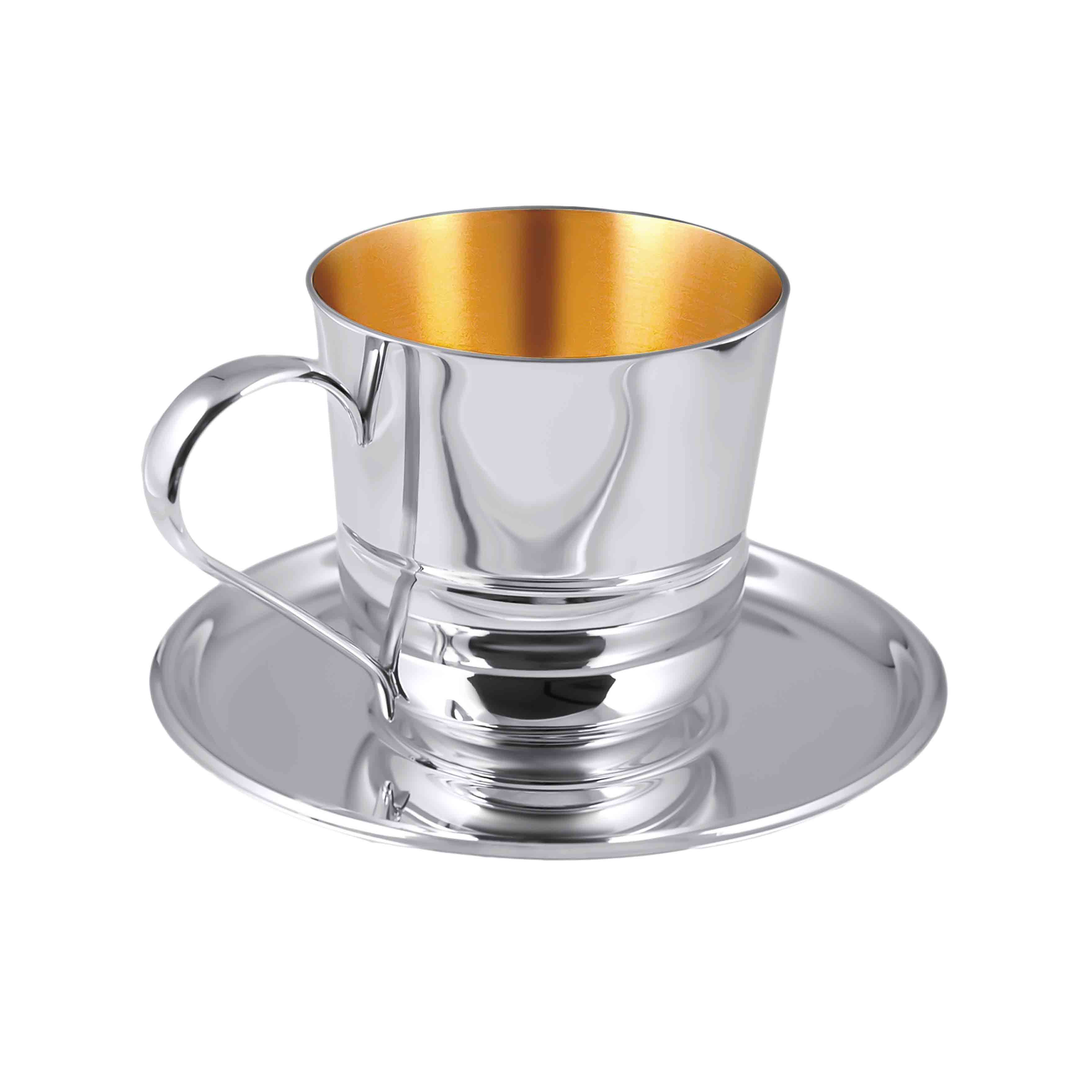 Silver Coffee Cup & Saucer