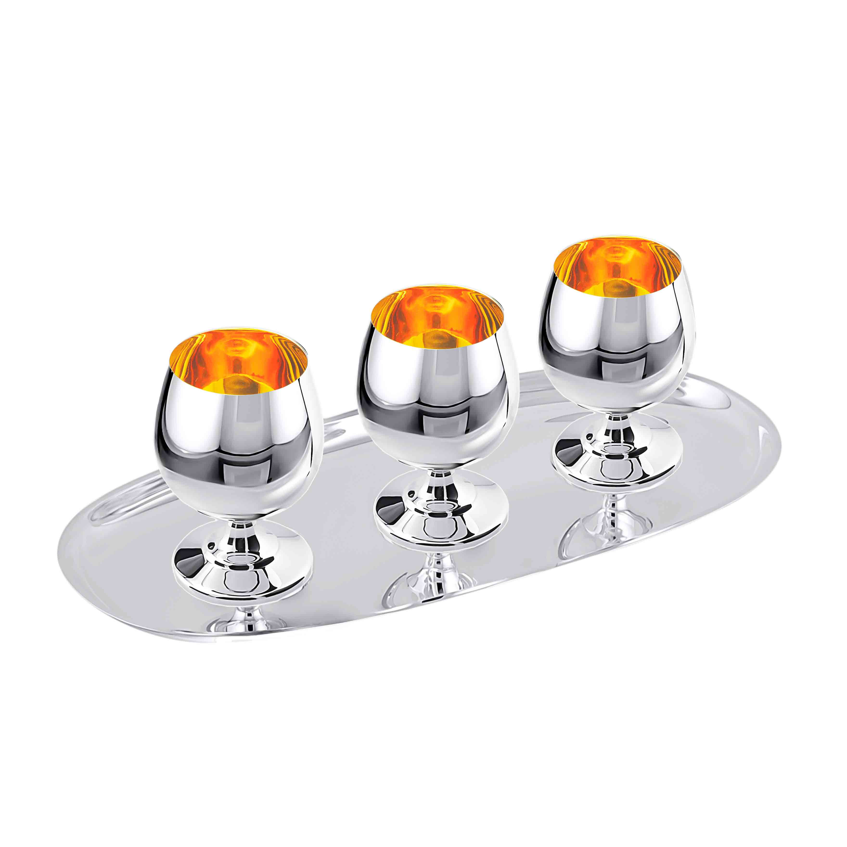 Cognac Silver Set for 3: 50ml Snifters on Tray