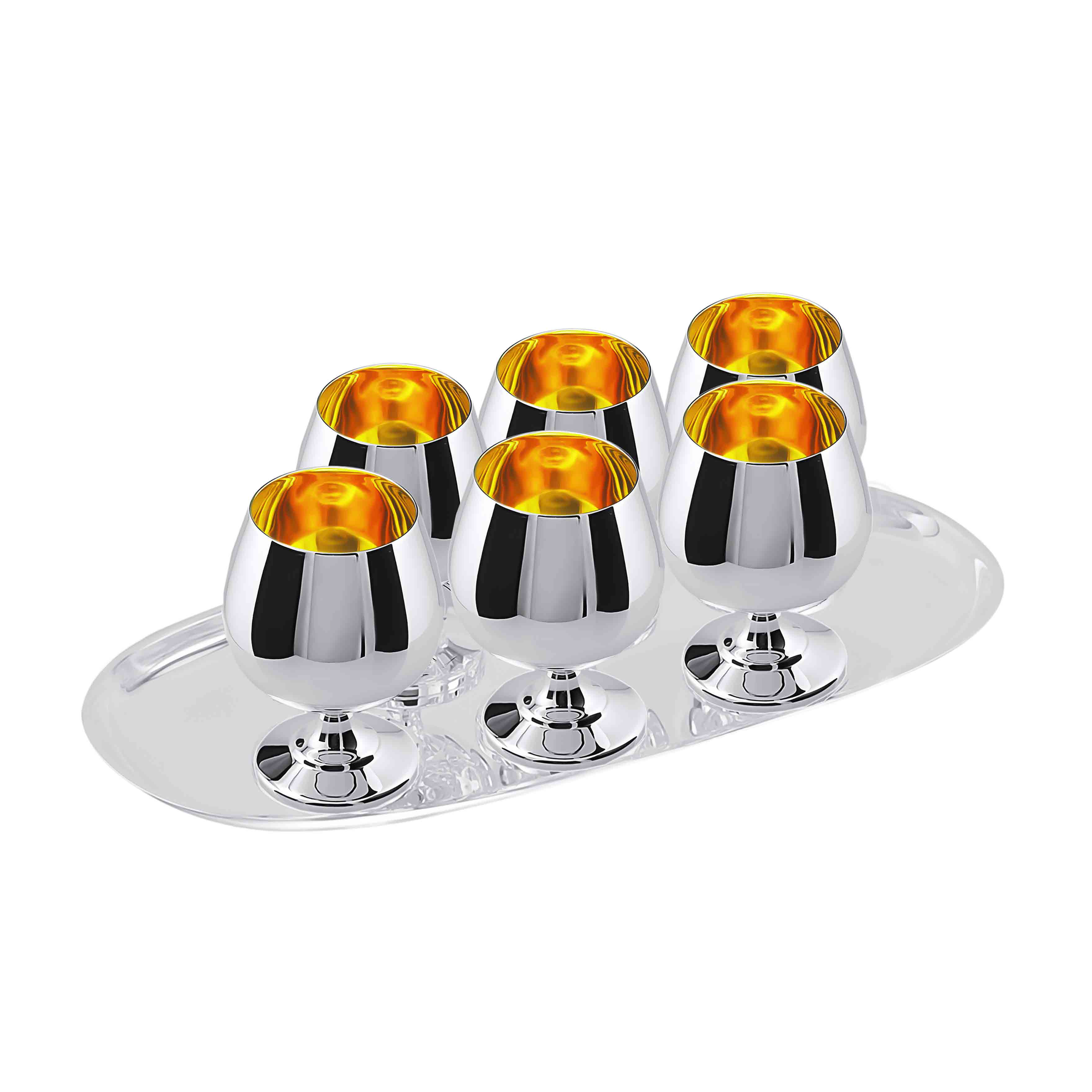 Cognac Silver Set for 6: 50ml Snifters on Tray