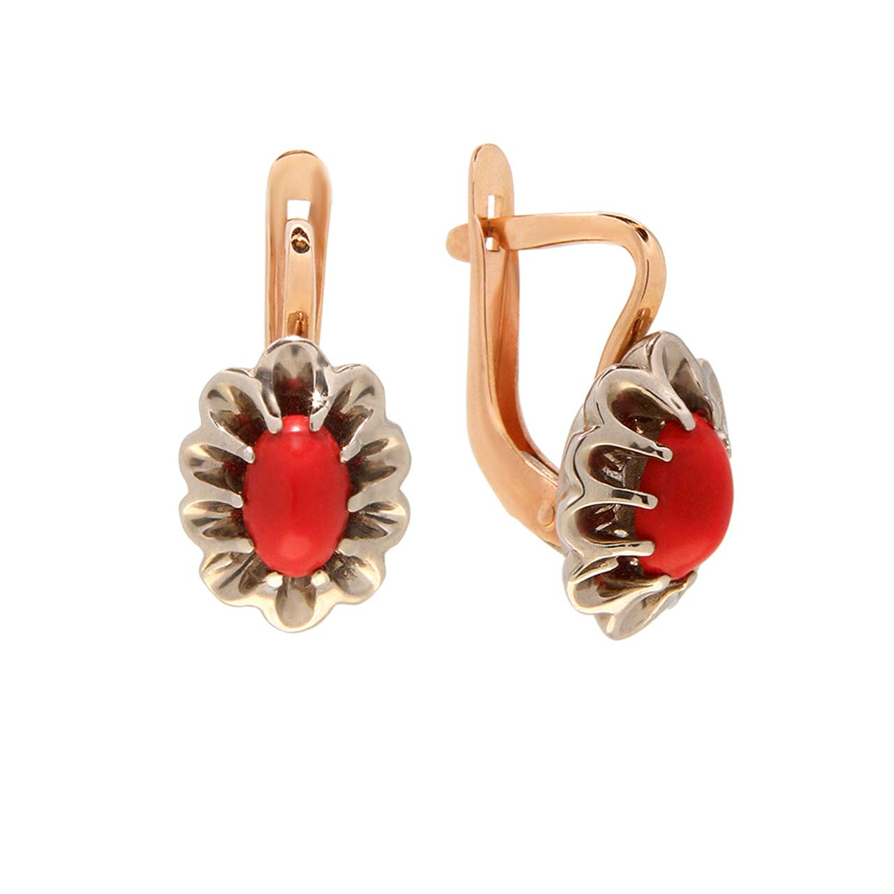 Coral Rose and White Gold Earrings