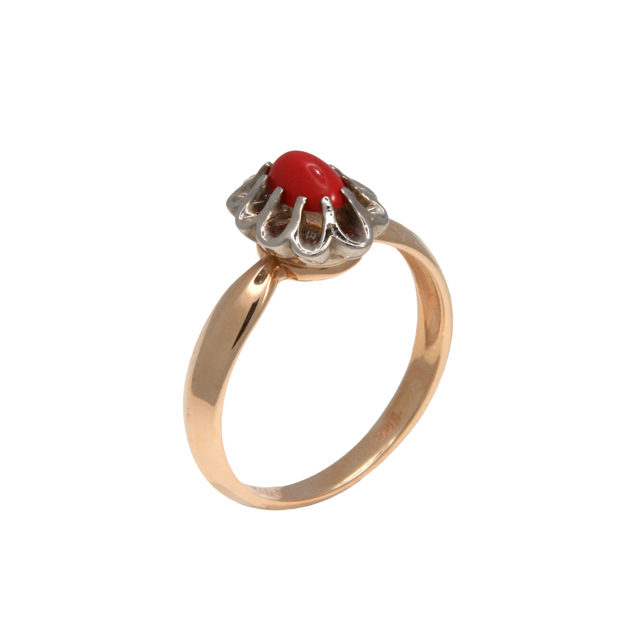 Coral Rose and White Gold Ring