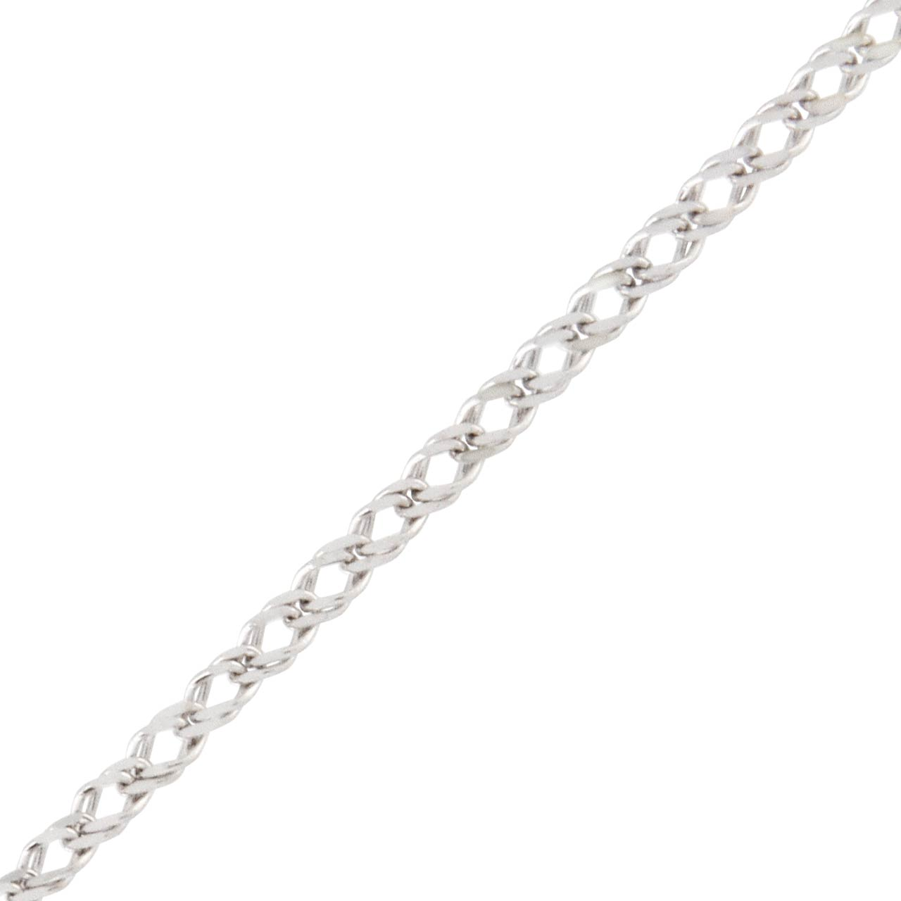 Diamond-cut Double Curb-link White Gold Chain with Width 1.6mm. View 2