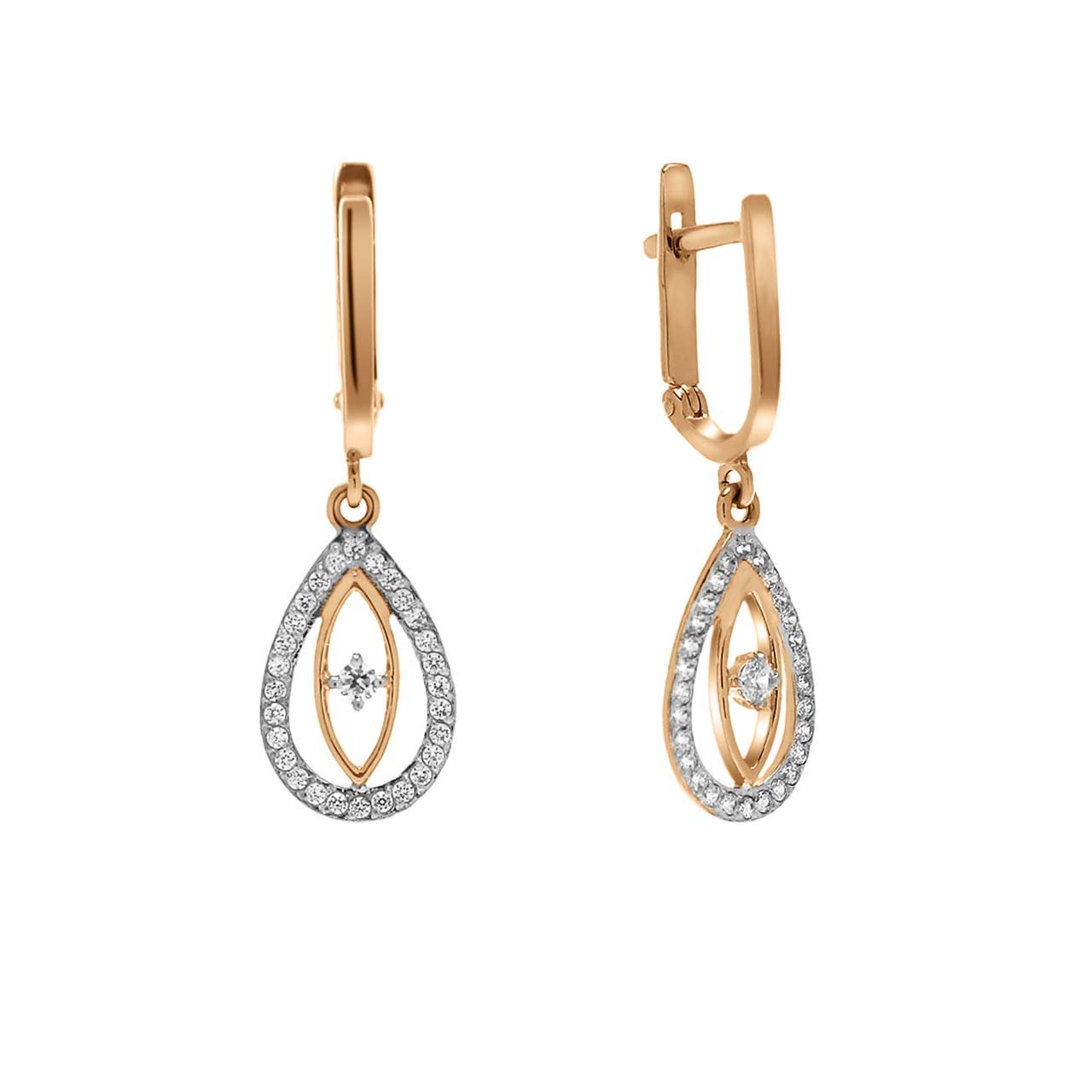 CZ Teardrop Leverback Earrings