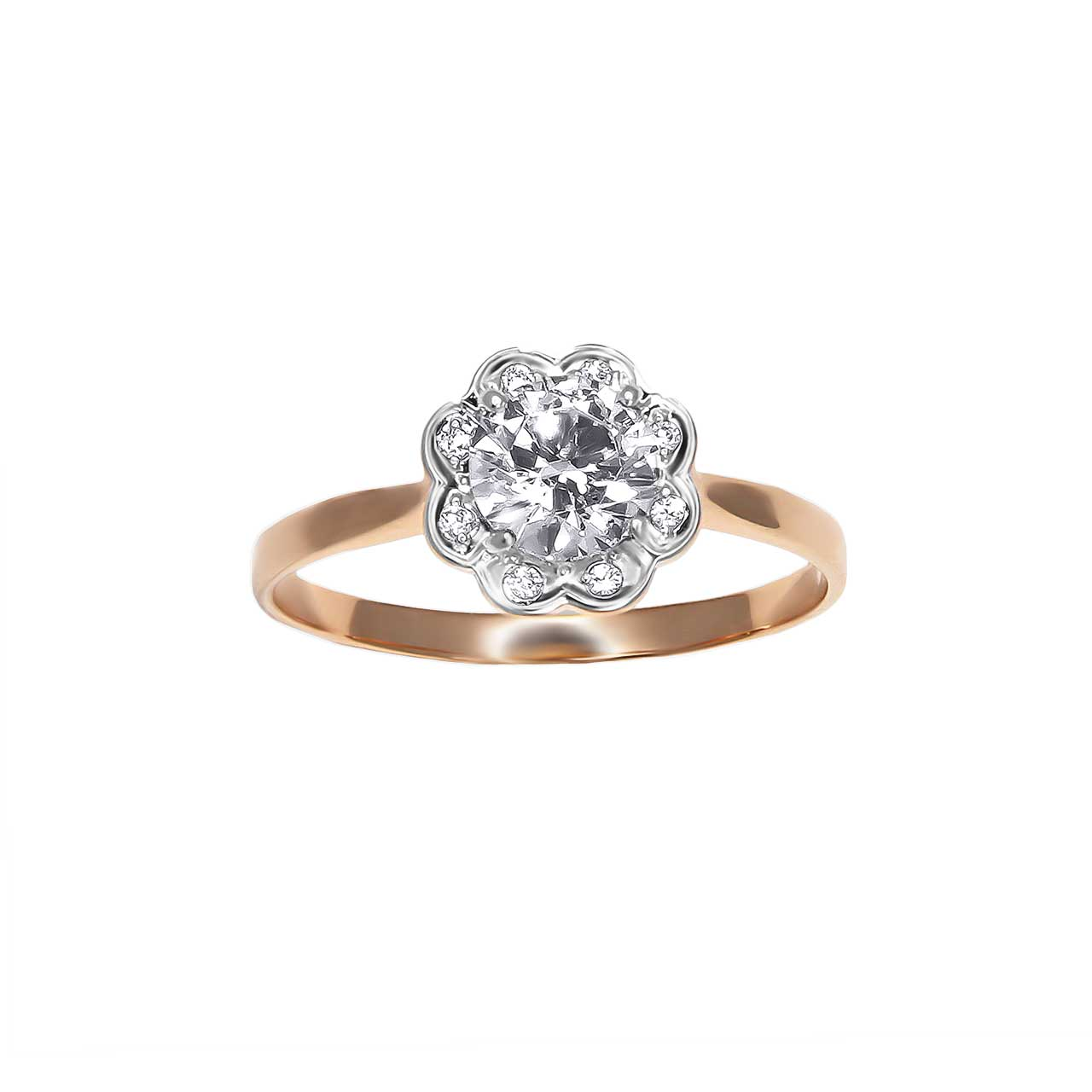 CZ floral engagement ring 2