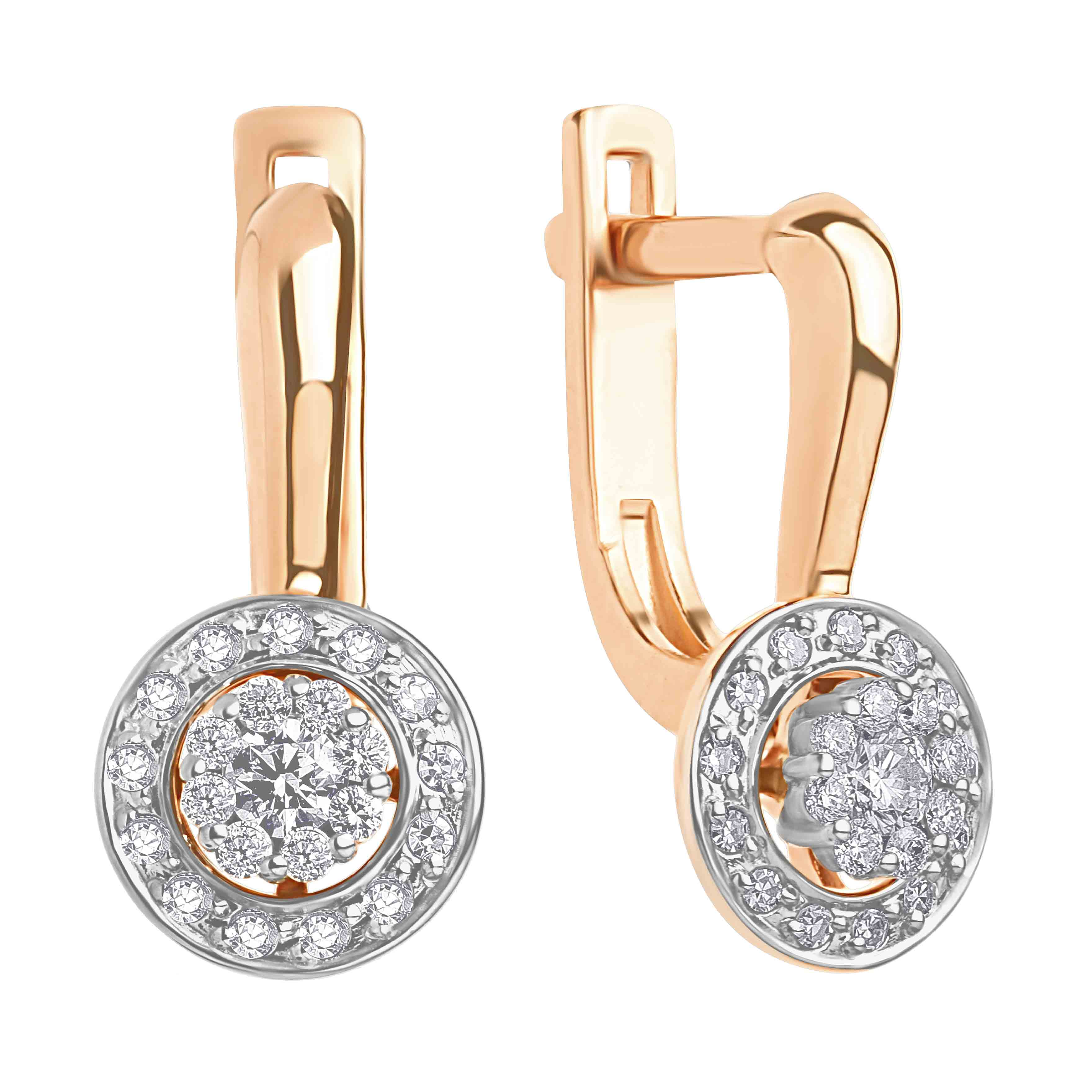 CZ Halo Leverback Earrings