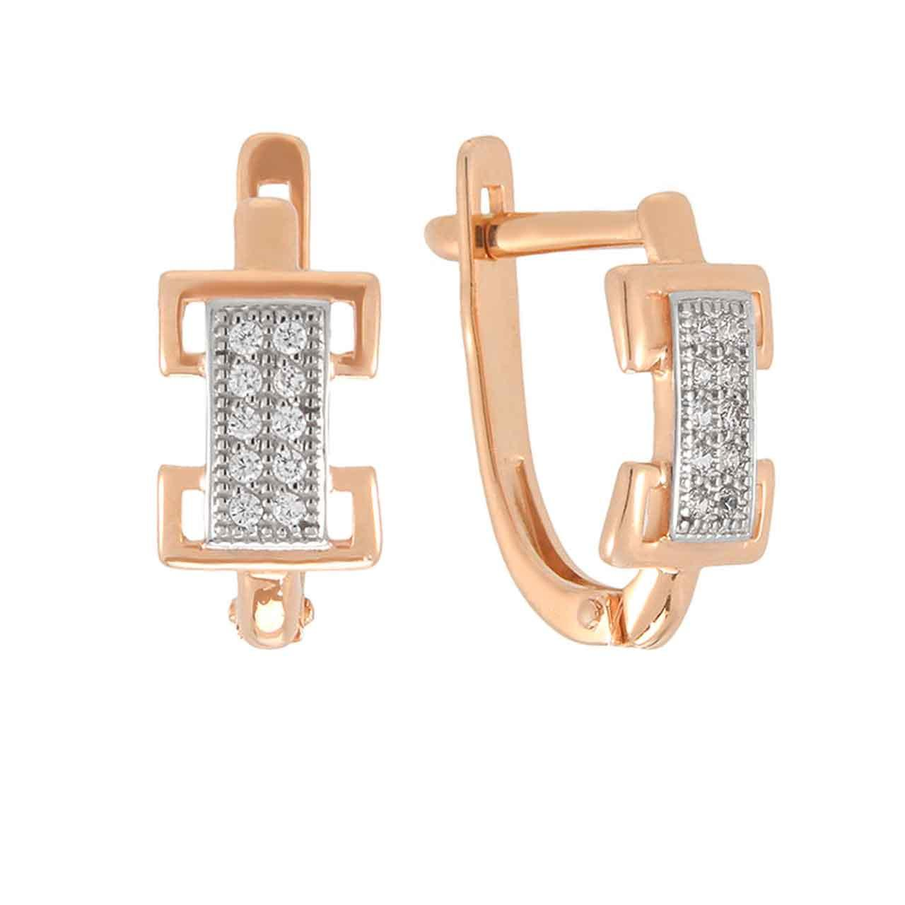 Stylized 'Belt Buckle' Gold Earrings