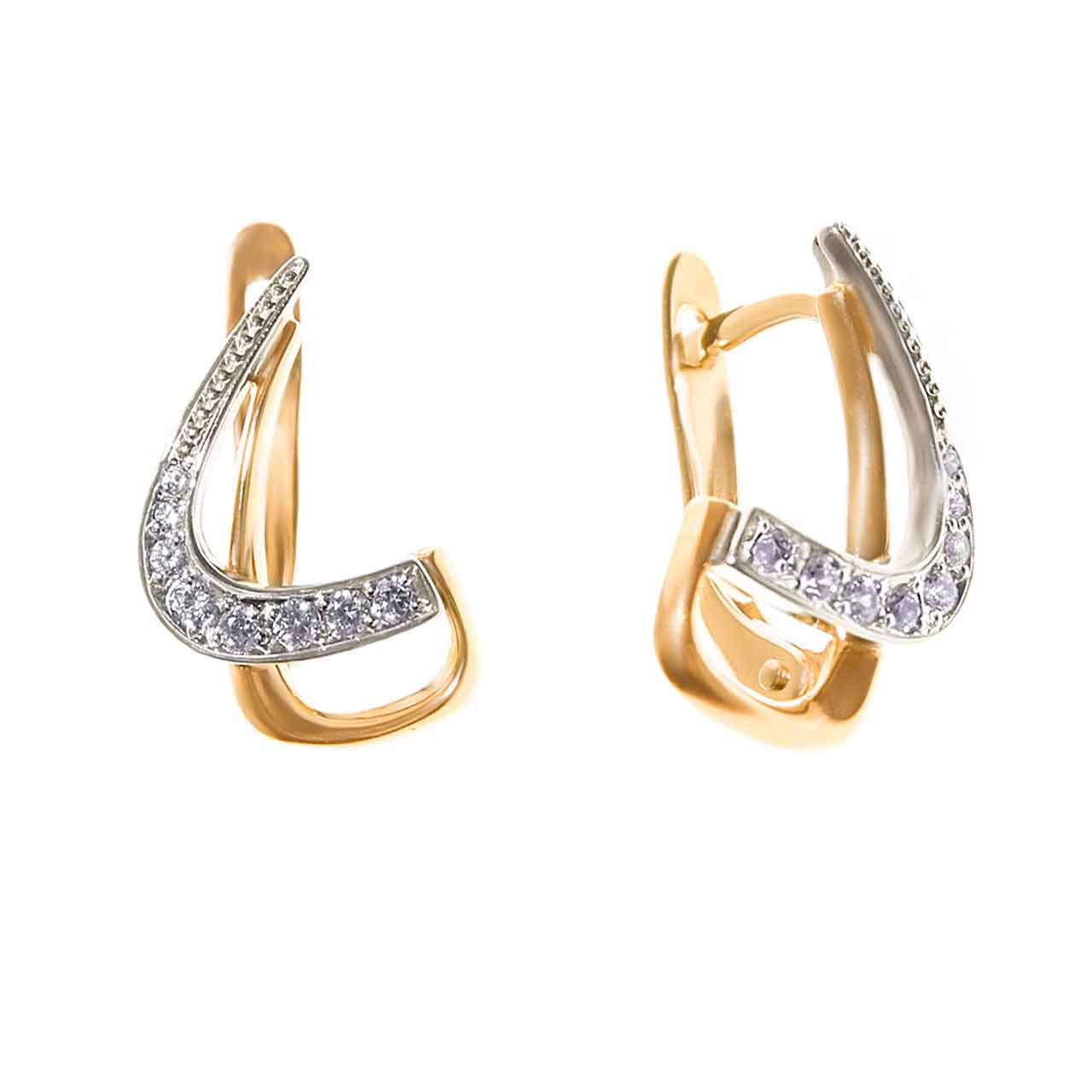 Cubic zirconia gold earrings 1