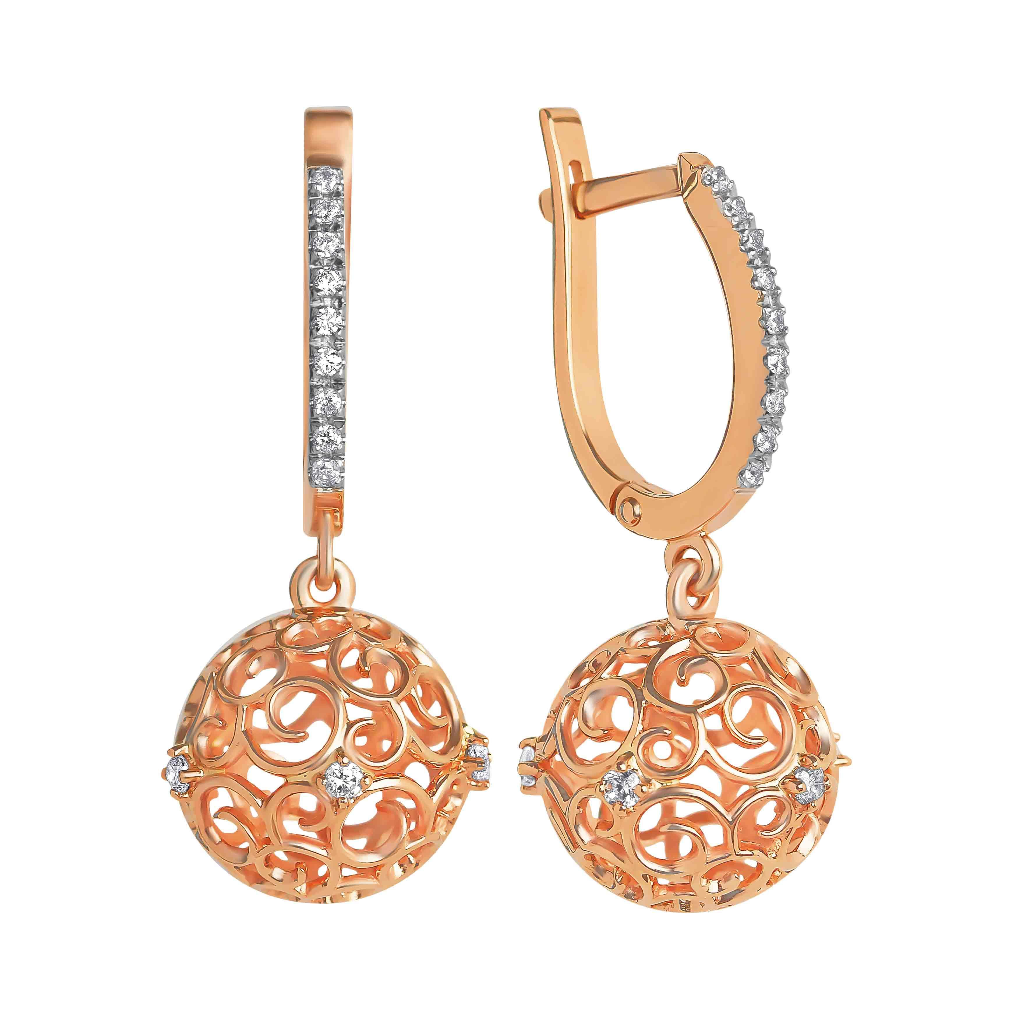 Sphere-shaped Openwork Dangle Earrings