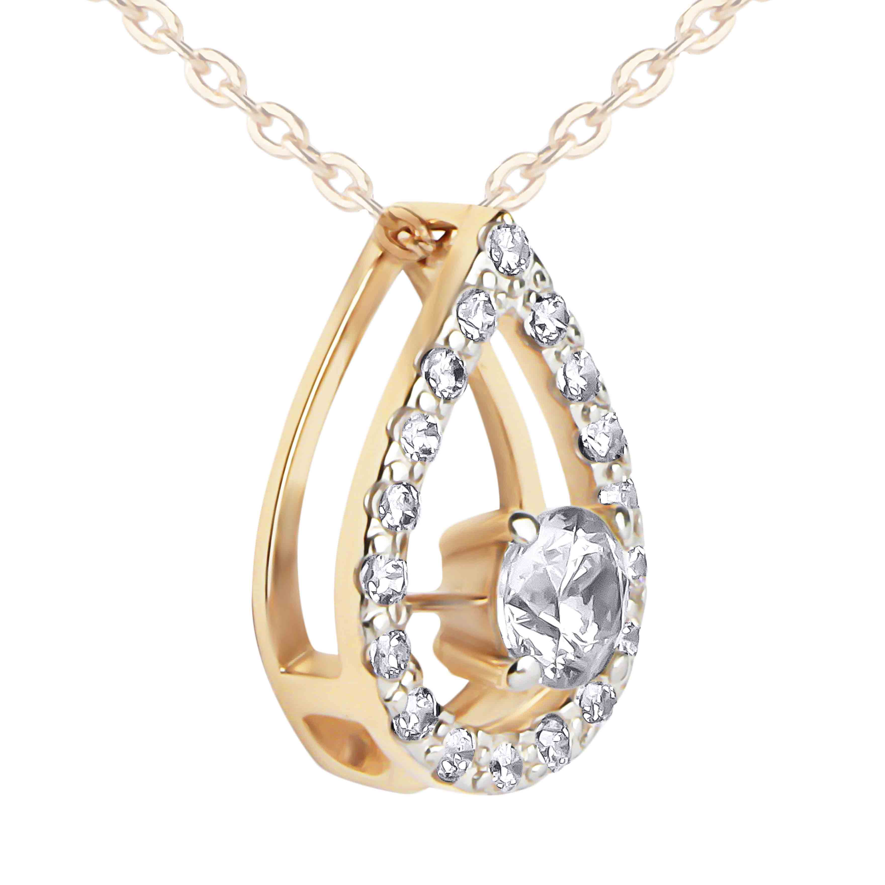 Rose Gold Open Teardrop Slide Pendant with Swarovski CZ. View 2