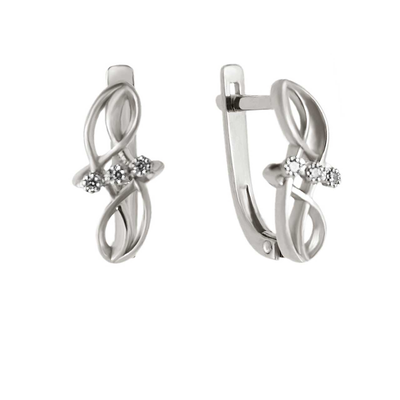 CZ White Gold Leverback Earrings