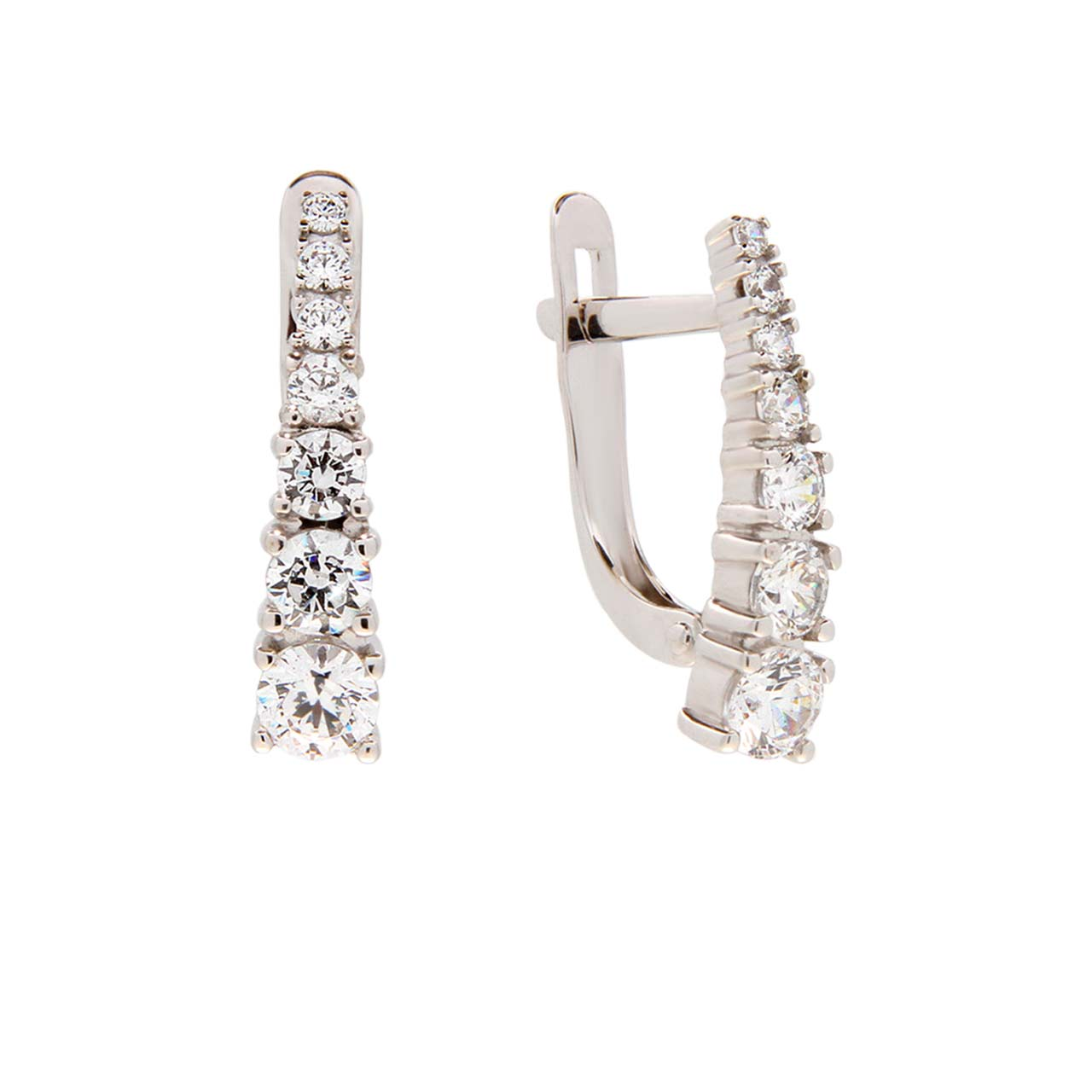 Graduated Swarovski CZ Leverback Earrings