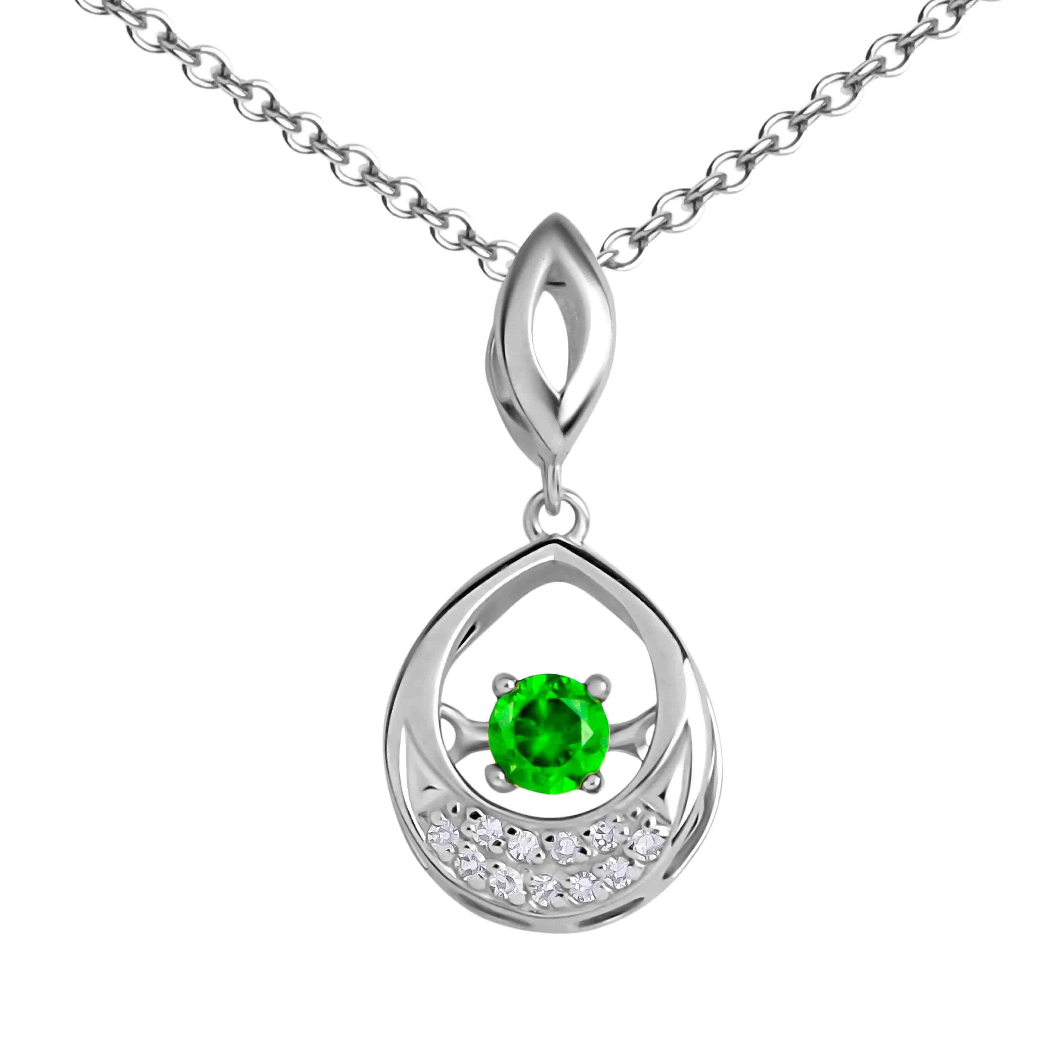 Fluttering Demantoid and Diamond Pendant