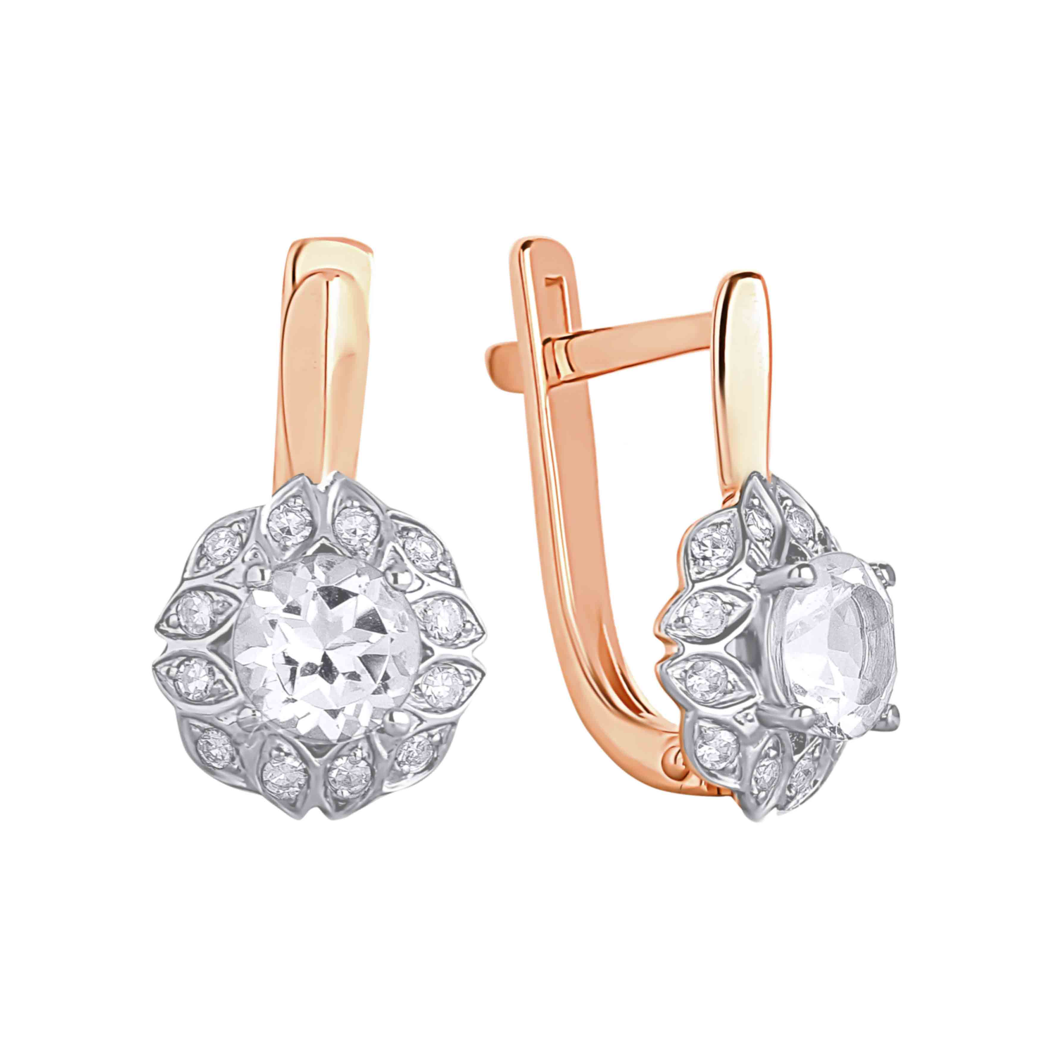 Colorless Topaz and Diamond Wheat Earrings