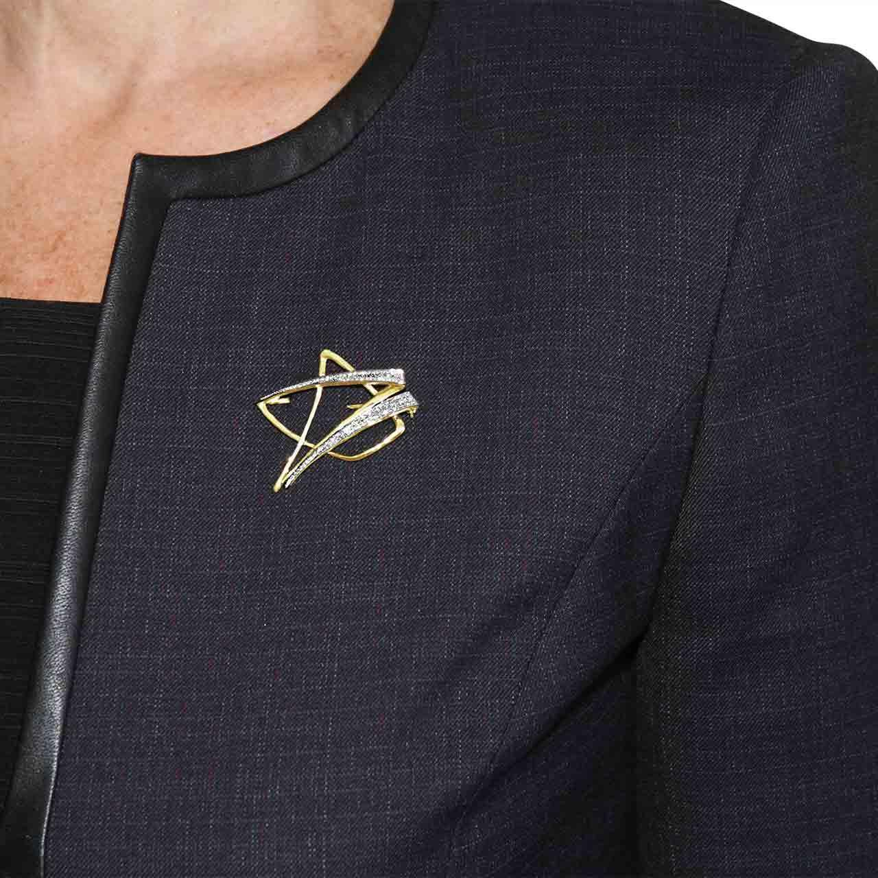 Abstract Geometric Diamond 18kt Gold Brooch. Jacket