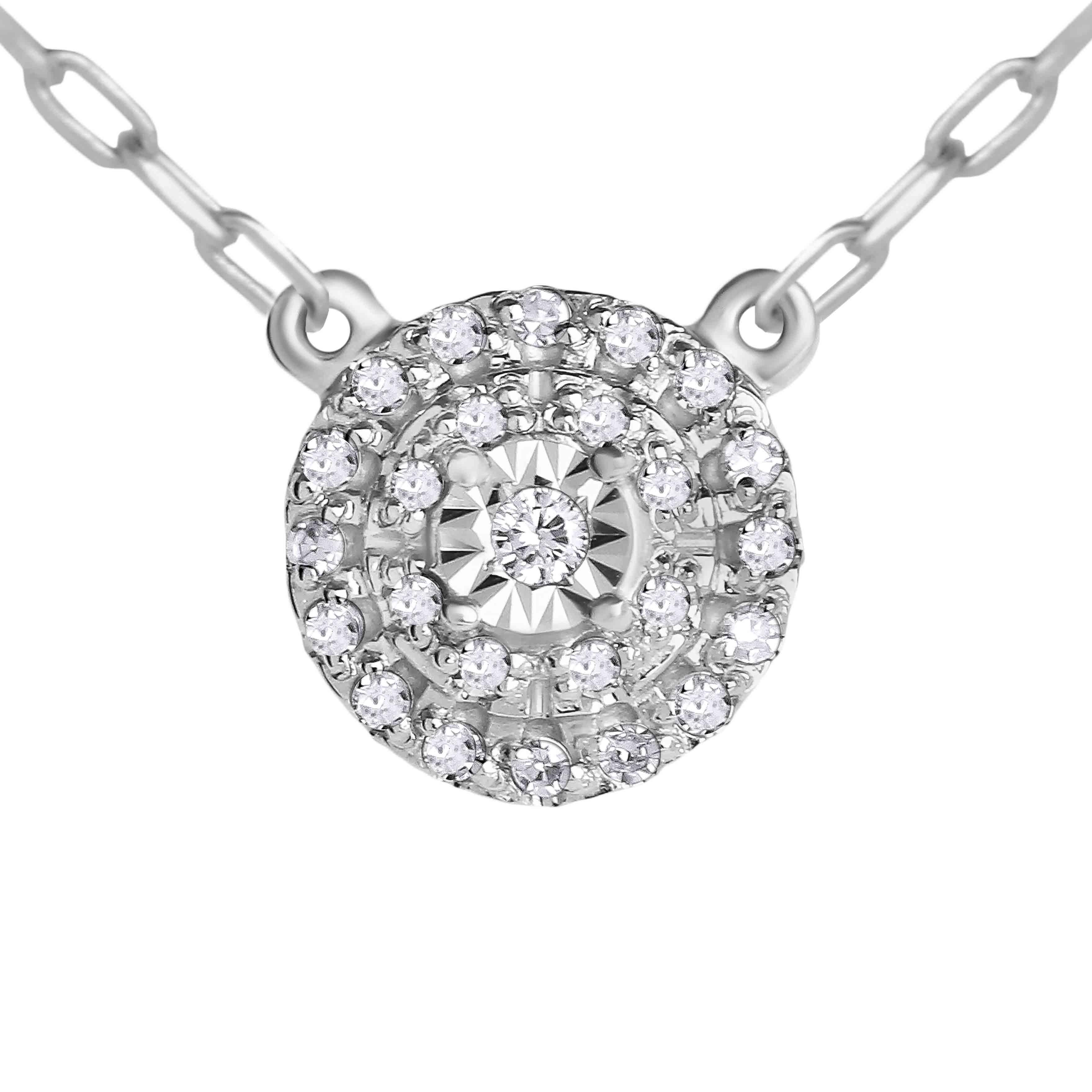 Illusion-set Diamond with Double Diamond Halo White Gold Necklace. View 2