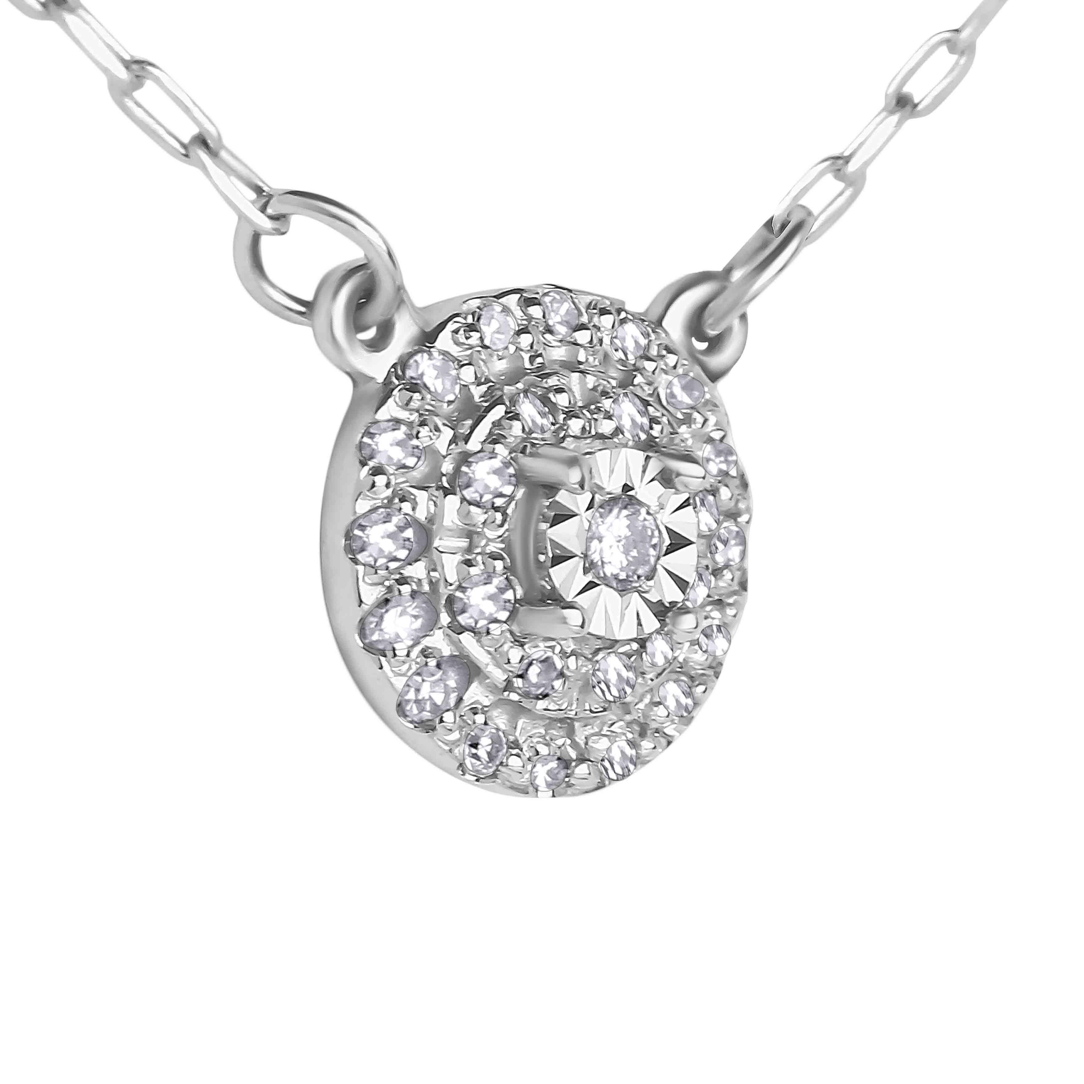 Illusion-set Diamond with Double Diamond Halo White Gold Necklace. View 3