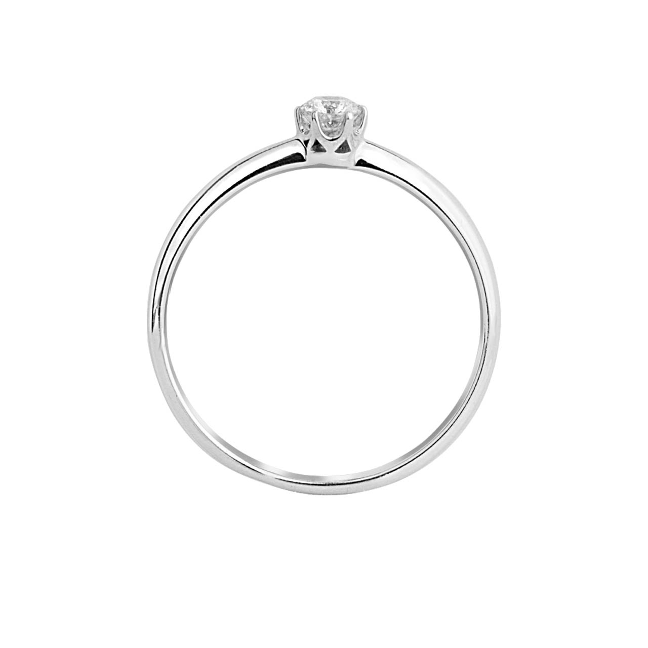 Solitaire Diamond 14kt White Gold Engagement Ring. View 2